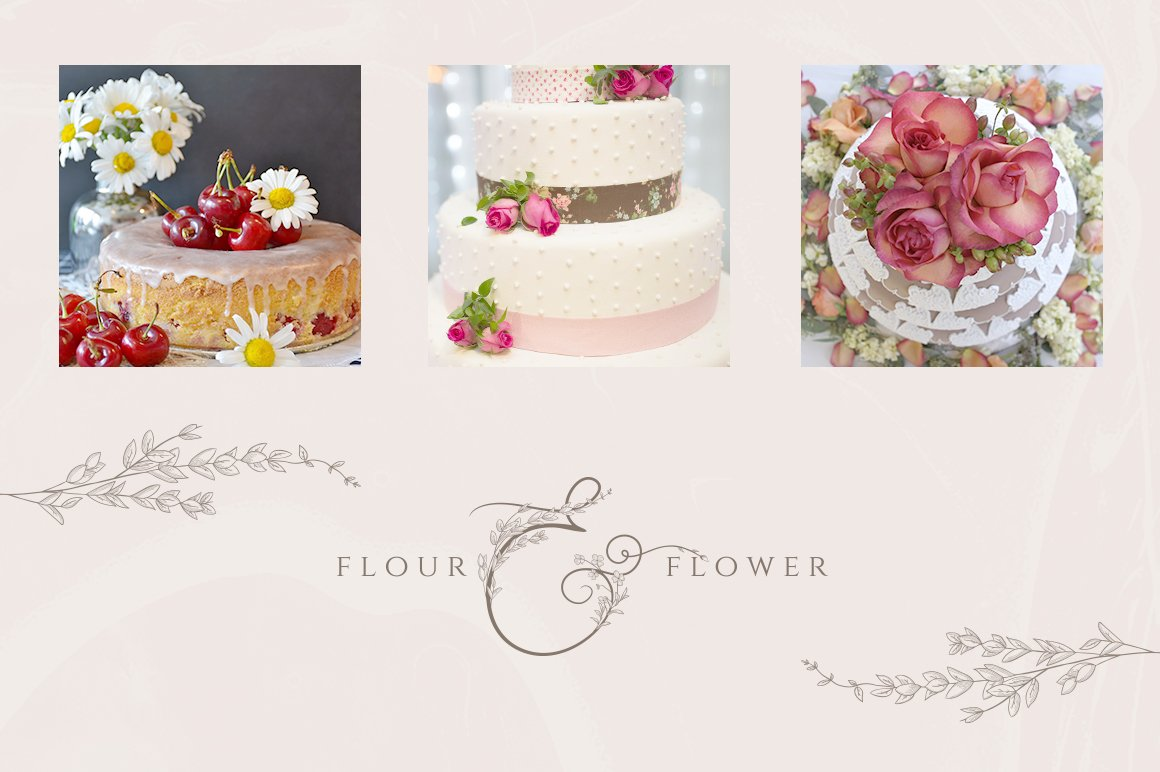 精美手绘花框花环徽标矢量图案素材 Flowered Monogram & Logo Collection插图(7)