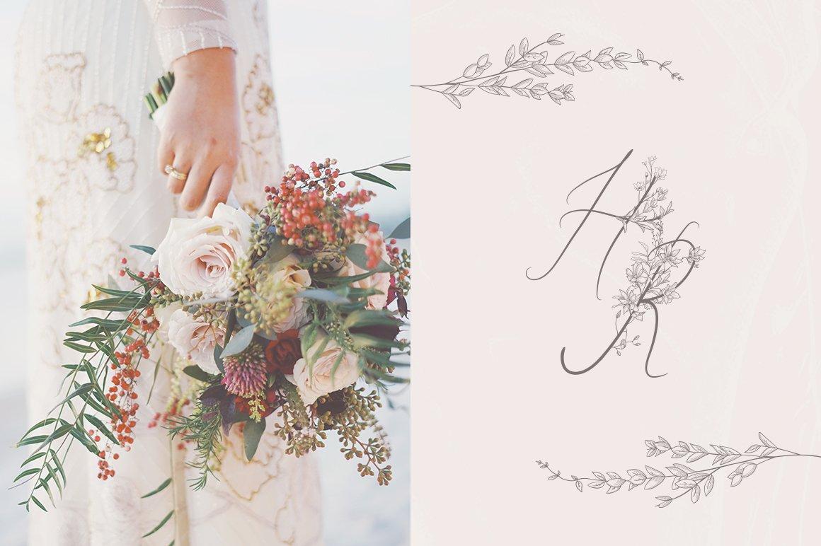 精美手绘花框花环徽标矢量图案素材 Flowered Monogram & Logo Collection插图(1)