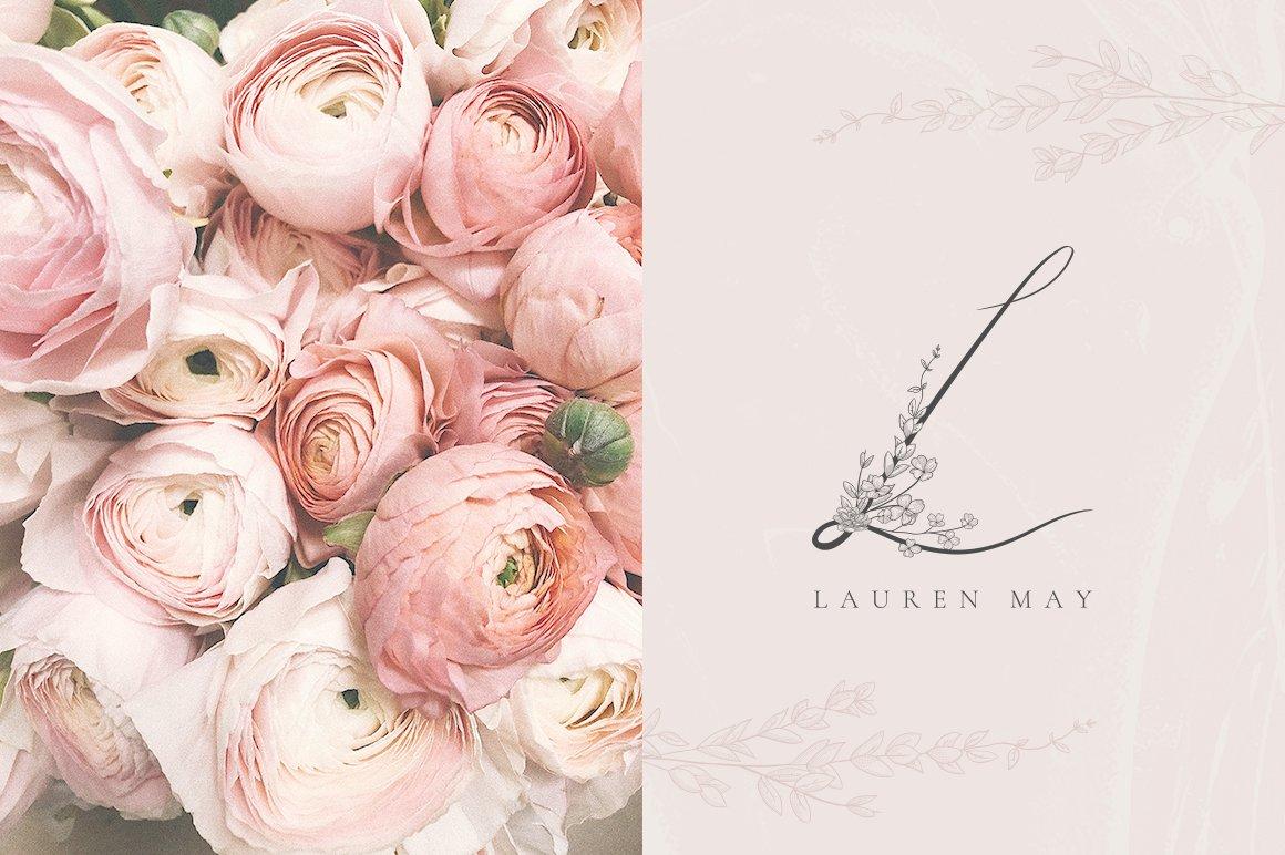 精美手绘花框花环徽标矢量图案素材 Flowered Monogram & Logo Collection插图(13)