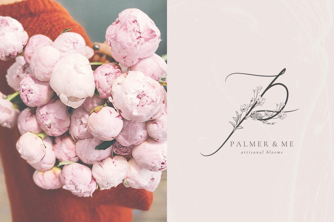 精美手绘花框花环徽标矢量图案素材 Flowered Monogram & Logo Collection插图(14)