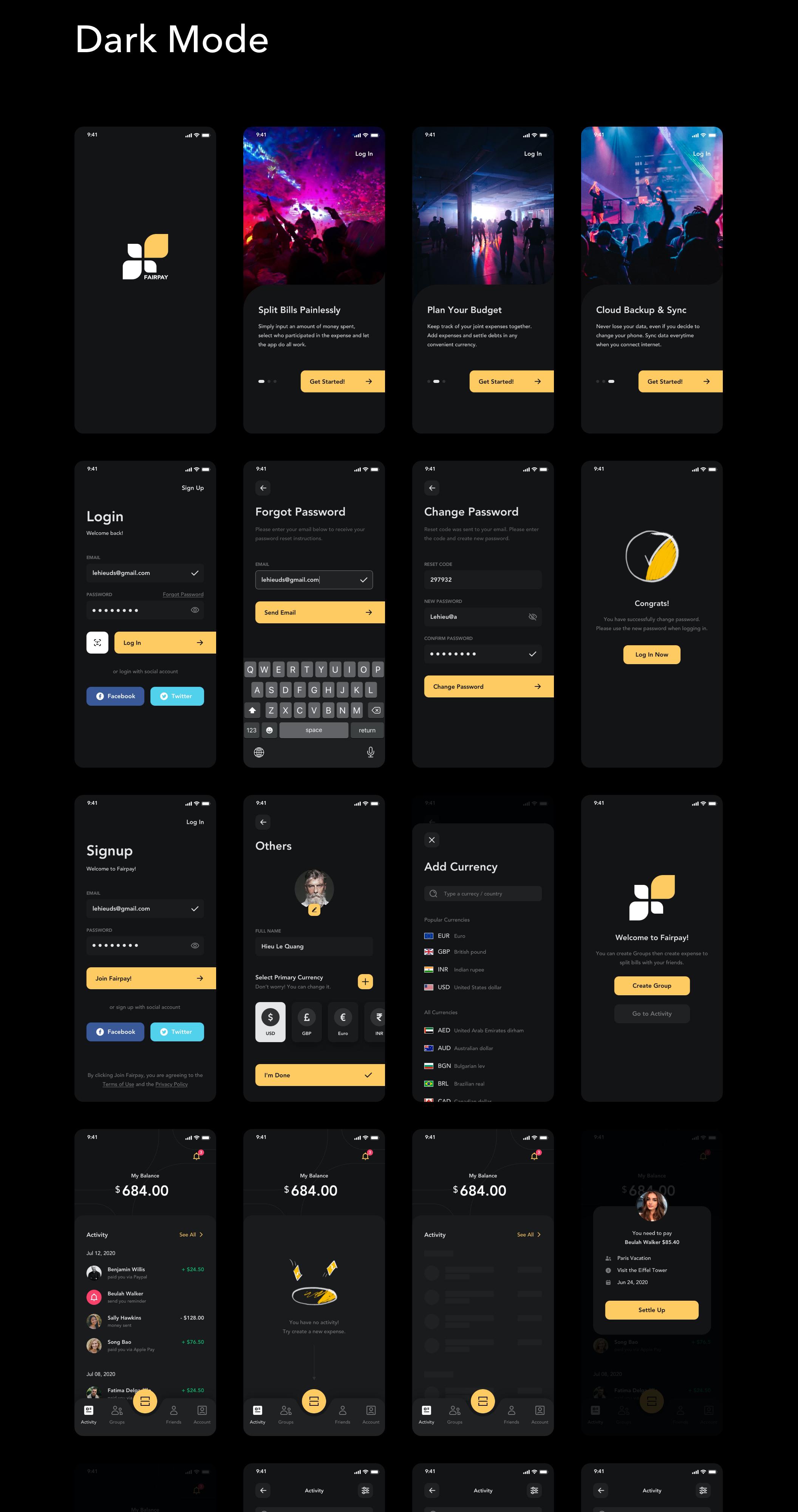 货币金融财务账单管理APP应用设计UI套件 Fairpay – Split Bill App UI Kit插图(11)