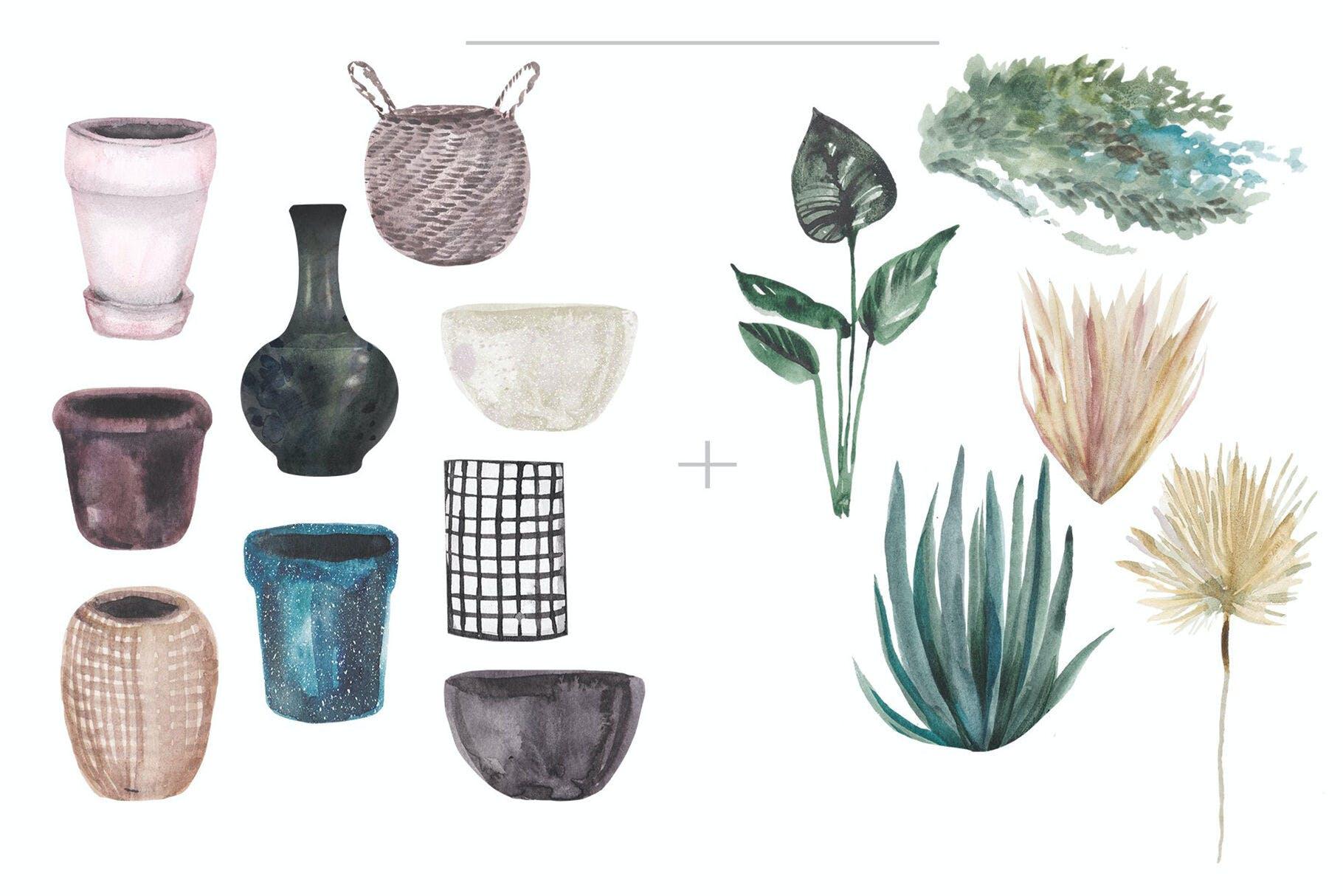 14种高清手绘室内植物水彩画PNG图片素材 Watercolor Hand Drawn Indoor Plants插图(1)