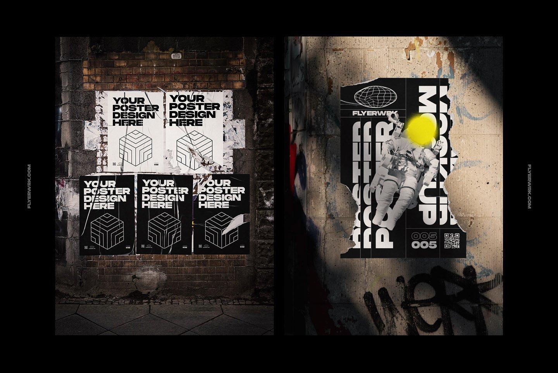 20款潮流城市街头宣传招贴海报设计PSD智能贴图样机模板 Flyerwrk – Urban Poster Wall Mockups插图(1)