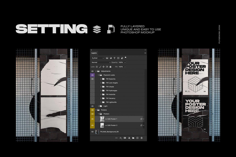20款潮流城市街头宣传招贴海报设计PSD智能贴图样机模板 Flyerwrk – Urban Poster Wall Mockups插图(4)