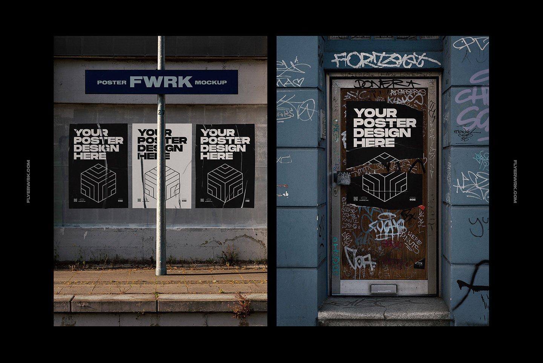 20款潮流城市街头宣传招贴海报设计PSD智能贴图样机模板 Flyerwrk – Urban Poster Wall Mockups插图(6)