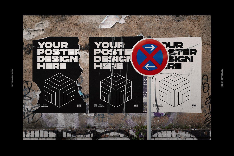 20款潮流城市街头宣传招贴海报设计PSD智能贴图样机模板 Flyerwrk – Urban Poster Wall Mockups插图(8)
