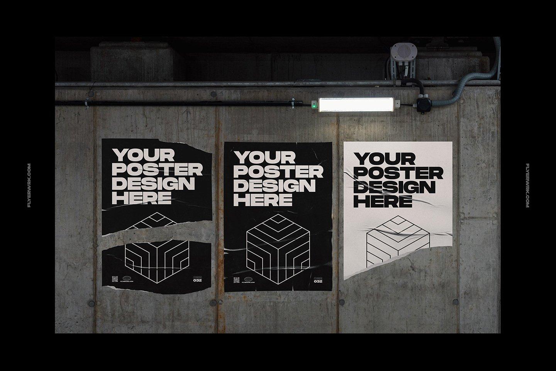 20款潮流城市街头宣传招贴海报设计PSD智能贴图样机模板 Flyerwrk – Urban Poster Wall Mockups插图(9)