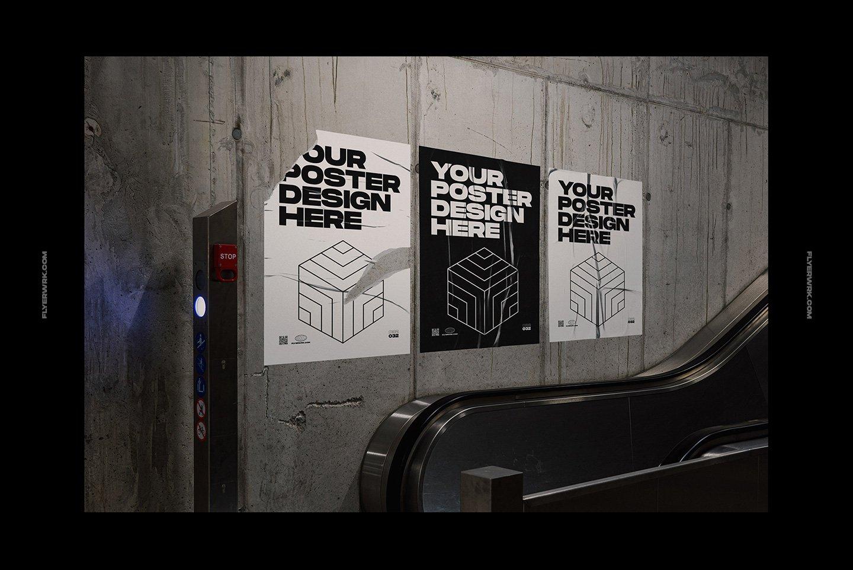 20款潮流城市街头宣传招贴海报设计PSD智能贴图样机模板 Flyerwrk – Urban Poster Wall Mockups插图(10)