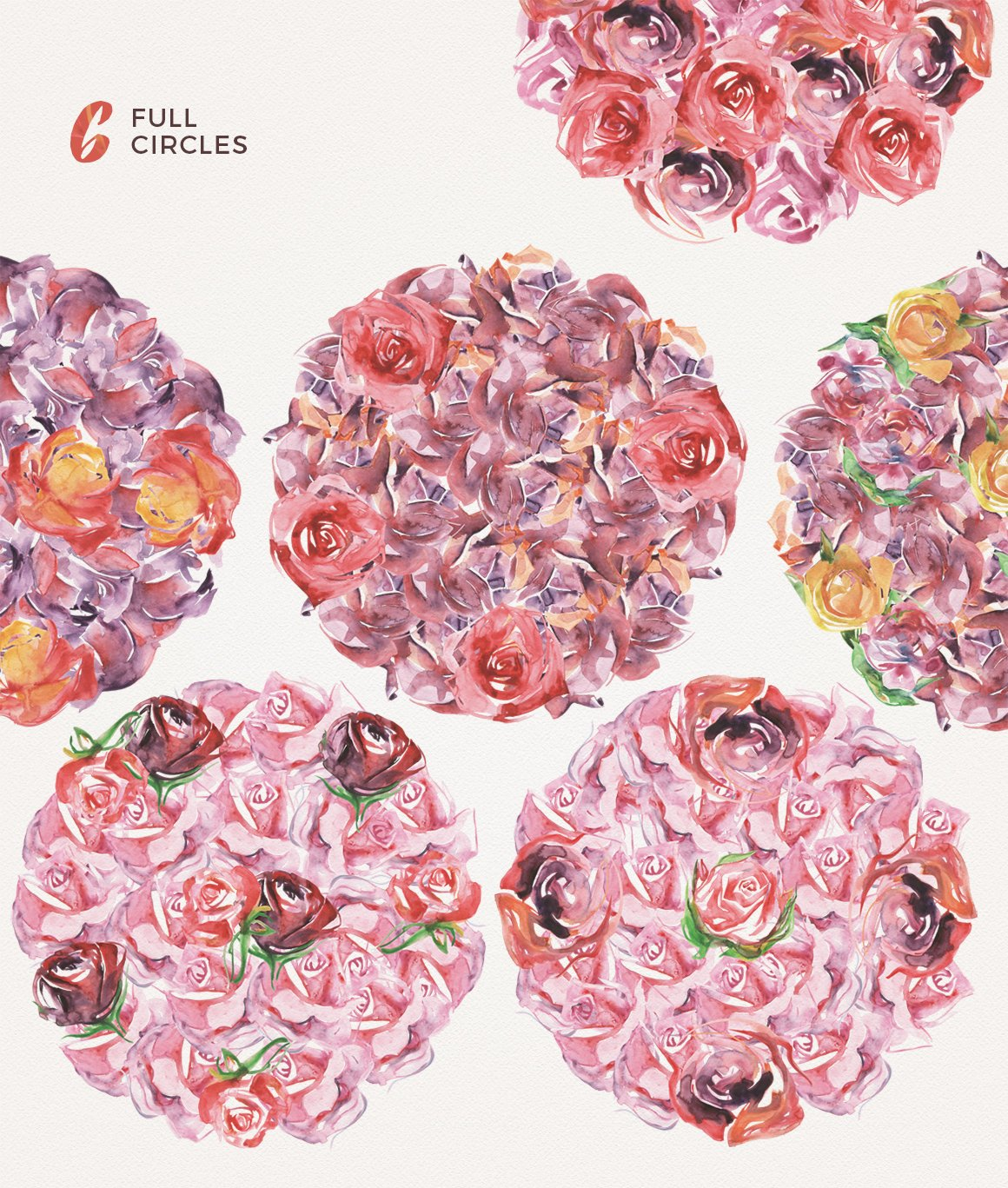 高清手绘花卉树叶水彩剪贴画PNG免抠图片素材 Watercolor Handmade Design Bundle插图(5)