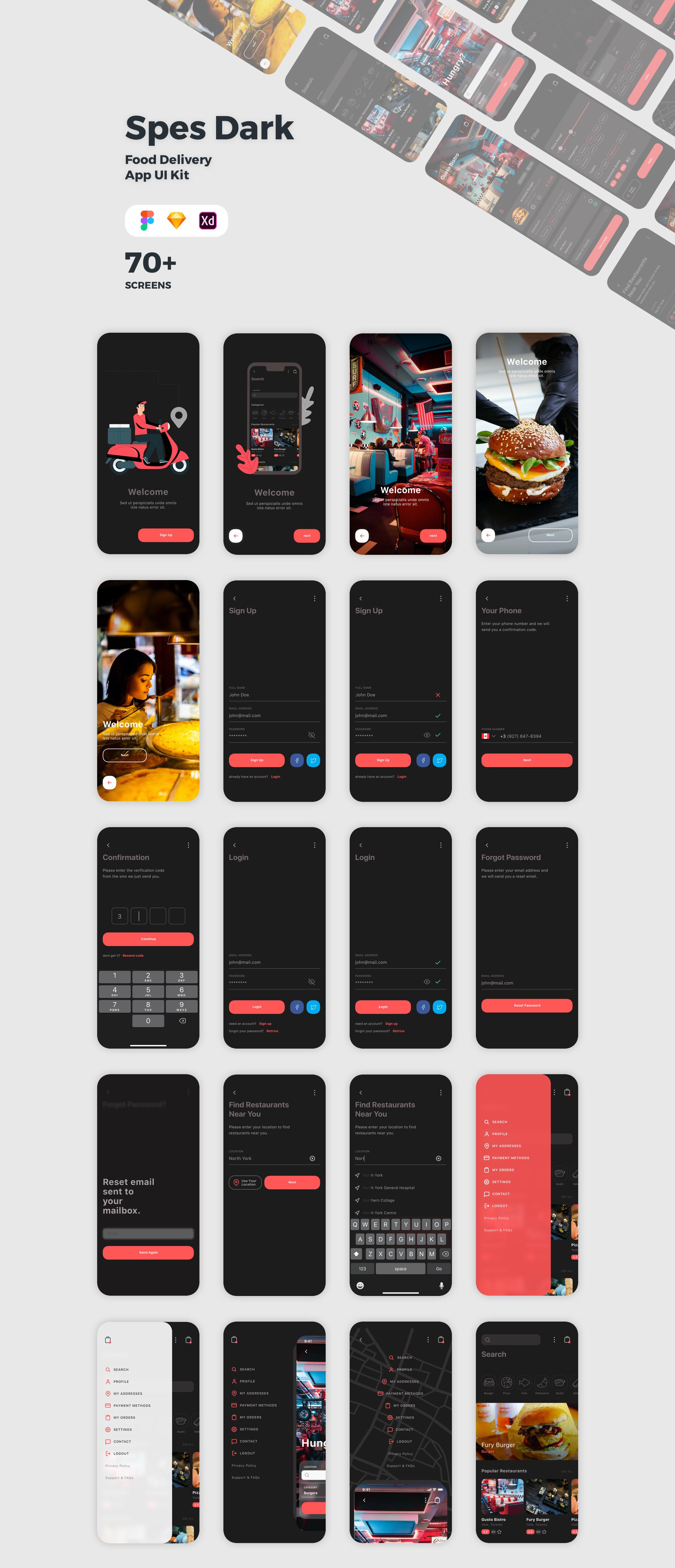 食品外卖配送服务移动应用APP界面设计UI套件 Spes Dark Food Delivery App UI Kit插图(10)