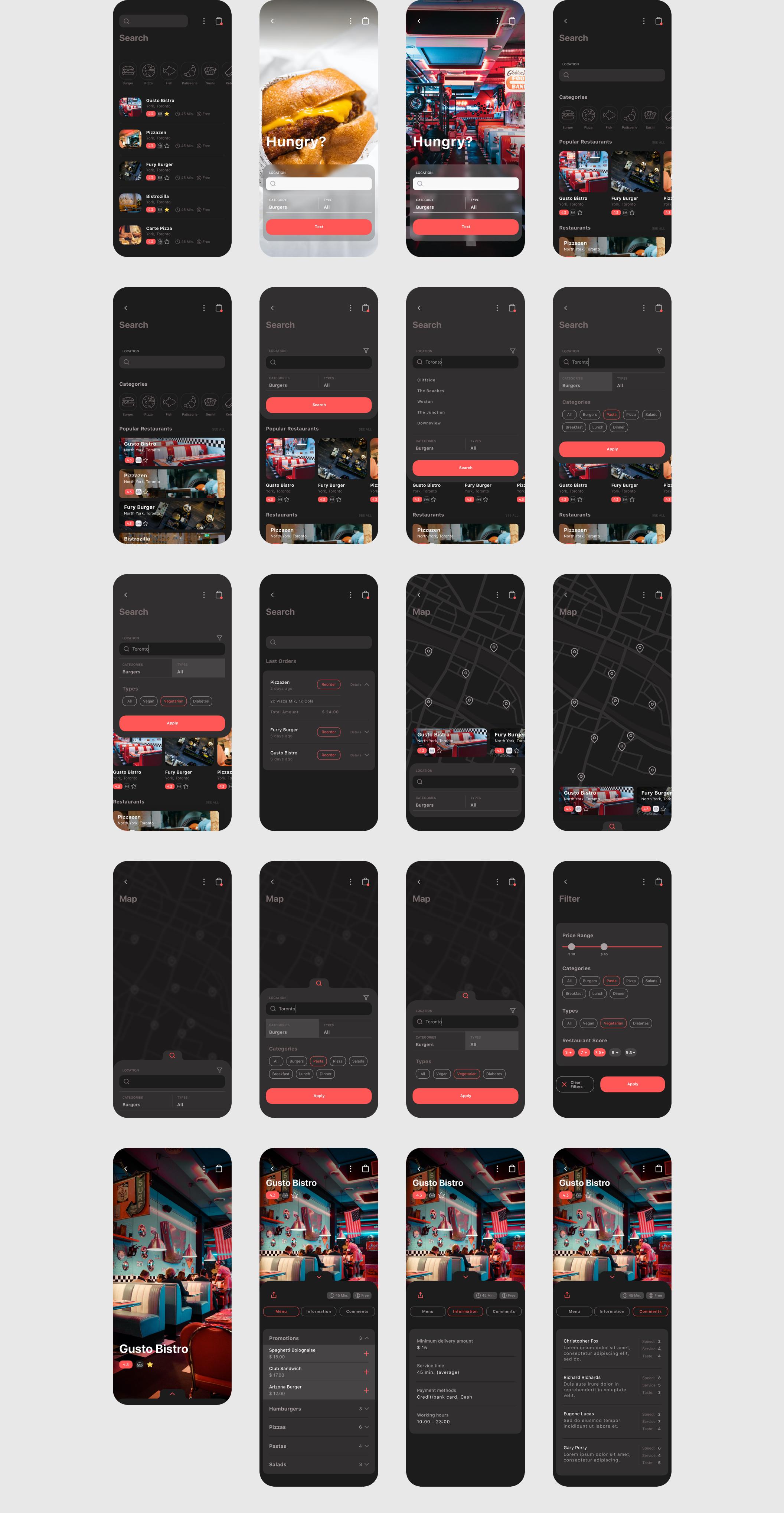 食品外卖配送服务移动应用APP界面设计UI套件 Spes Dark Food Delivery App UI Kit插图(11)