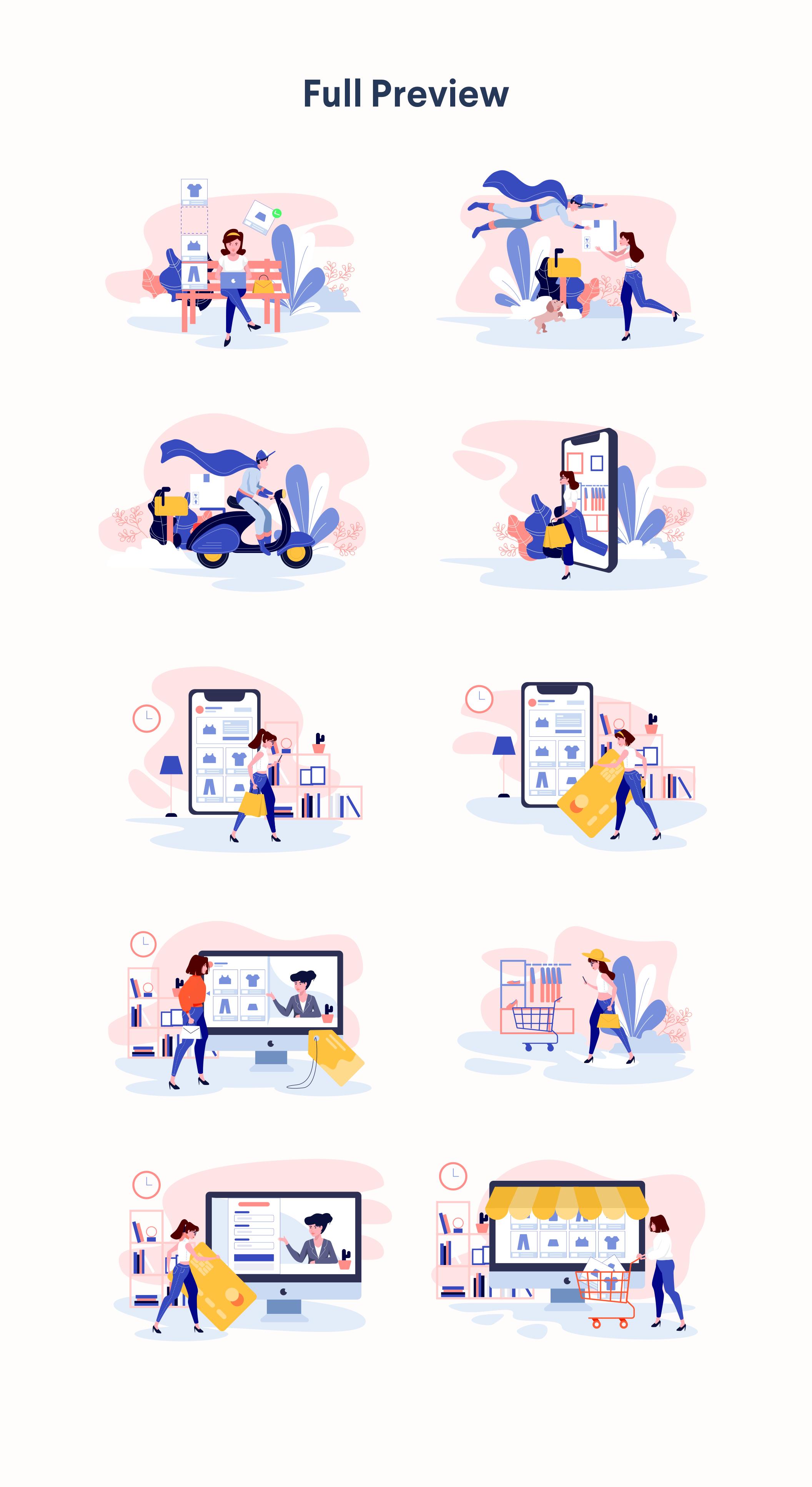 时尚购物商城2.5D矢量概念插画 Lunas : E-commerce Illustration Kit插图(9)