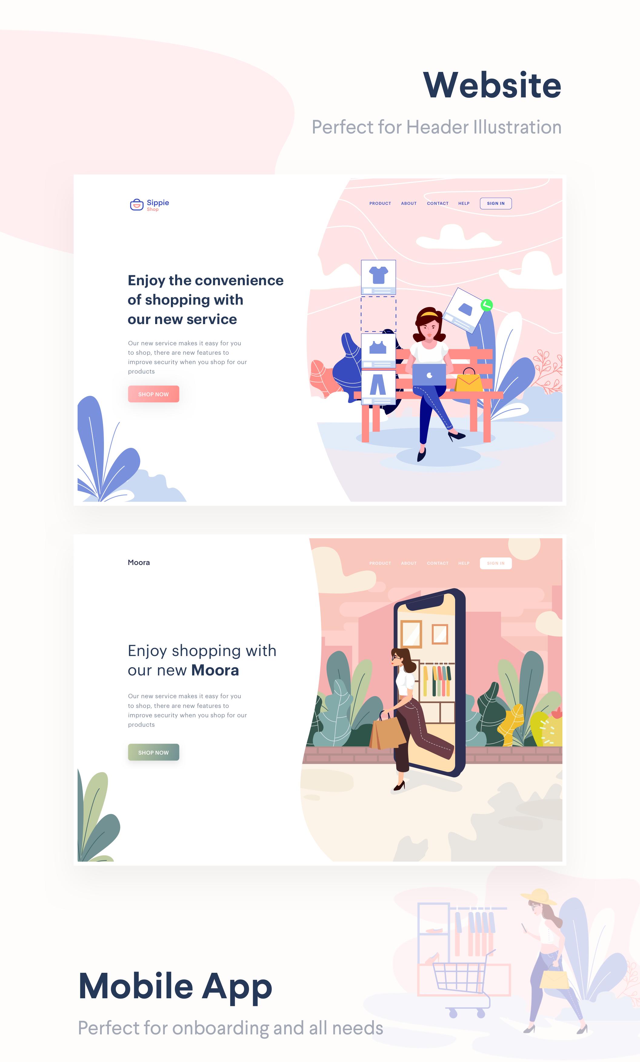 时尚购物商城2.5D矢量概念插画 Lunas : E-commerce Illustration Kit插图(7)