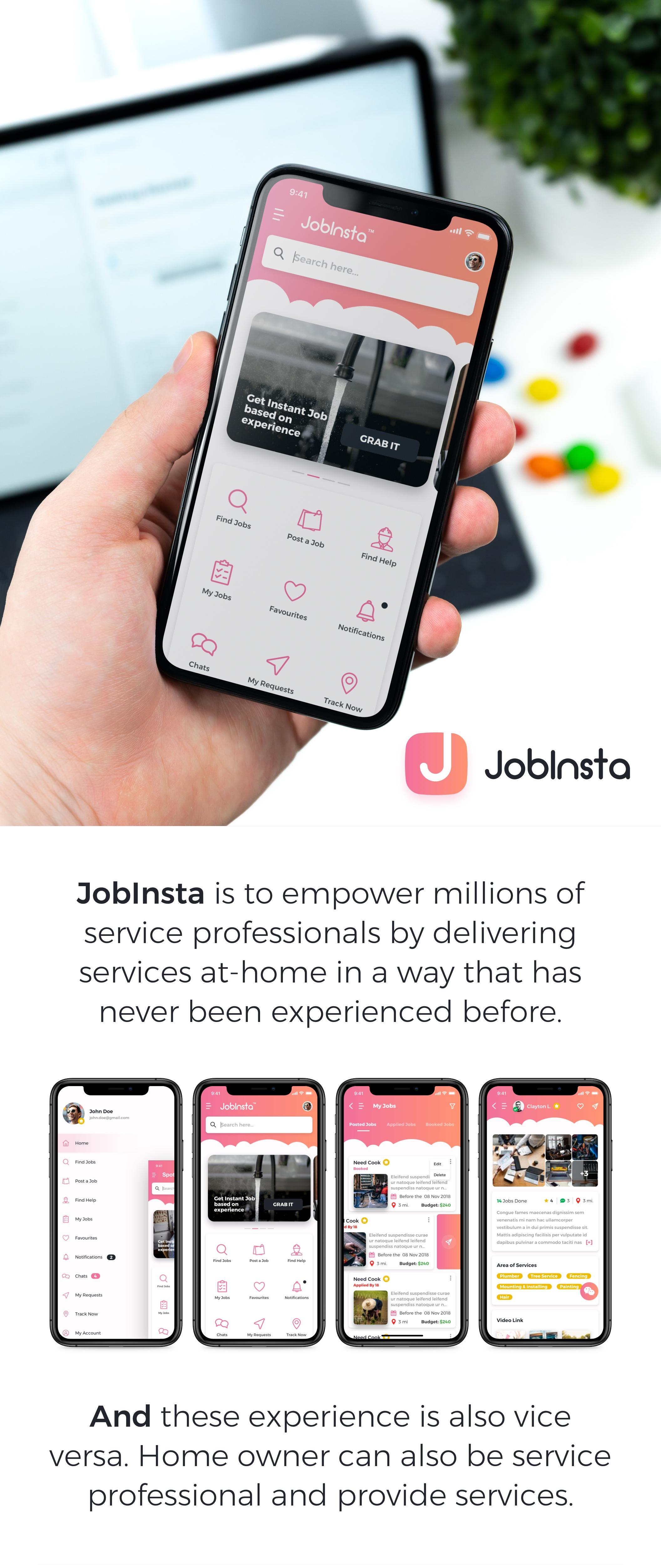 求职家政服务应用APP设计UI套件 JobInsta UI Kit插图(6)