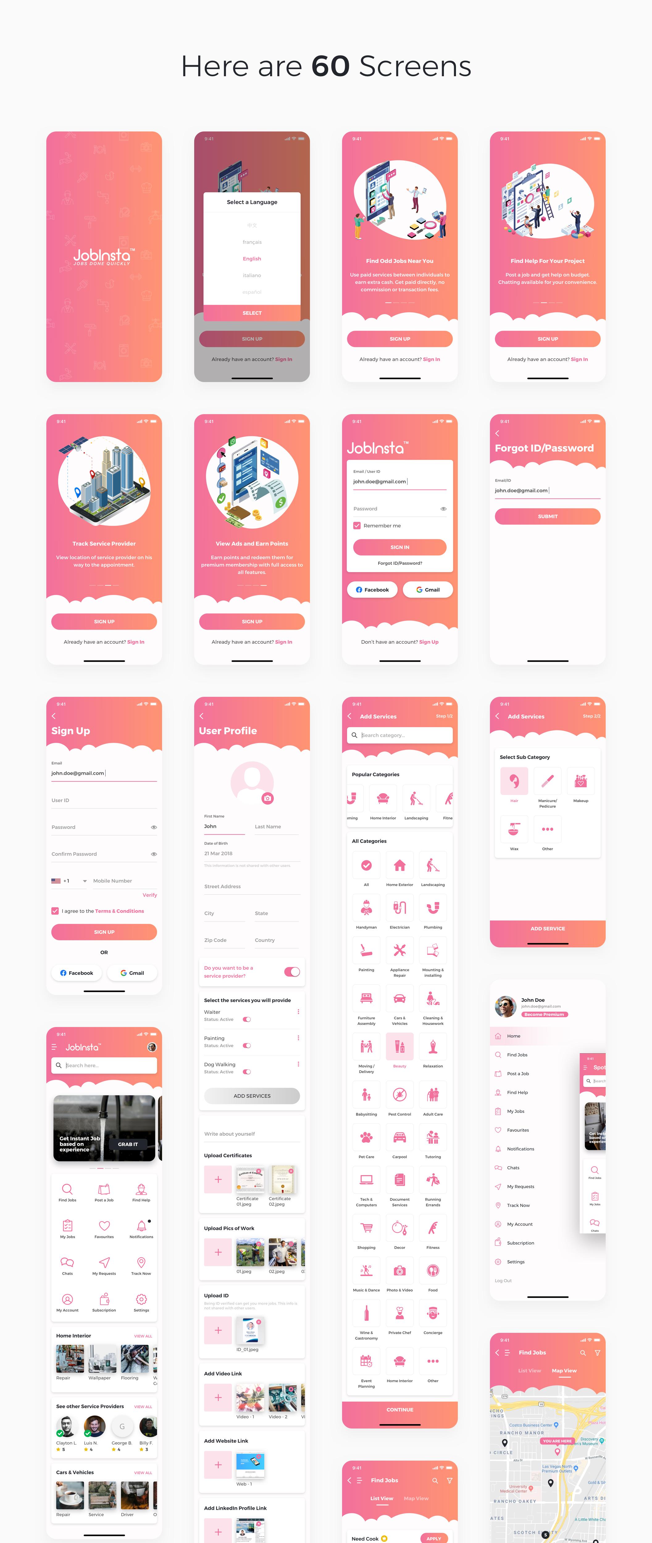 求职家政服务应用APP设计UI套件 JobInsta UI Kit插图(8)