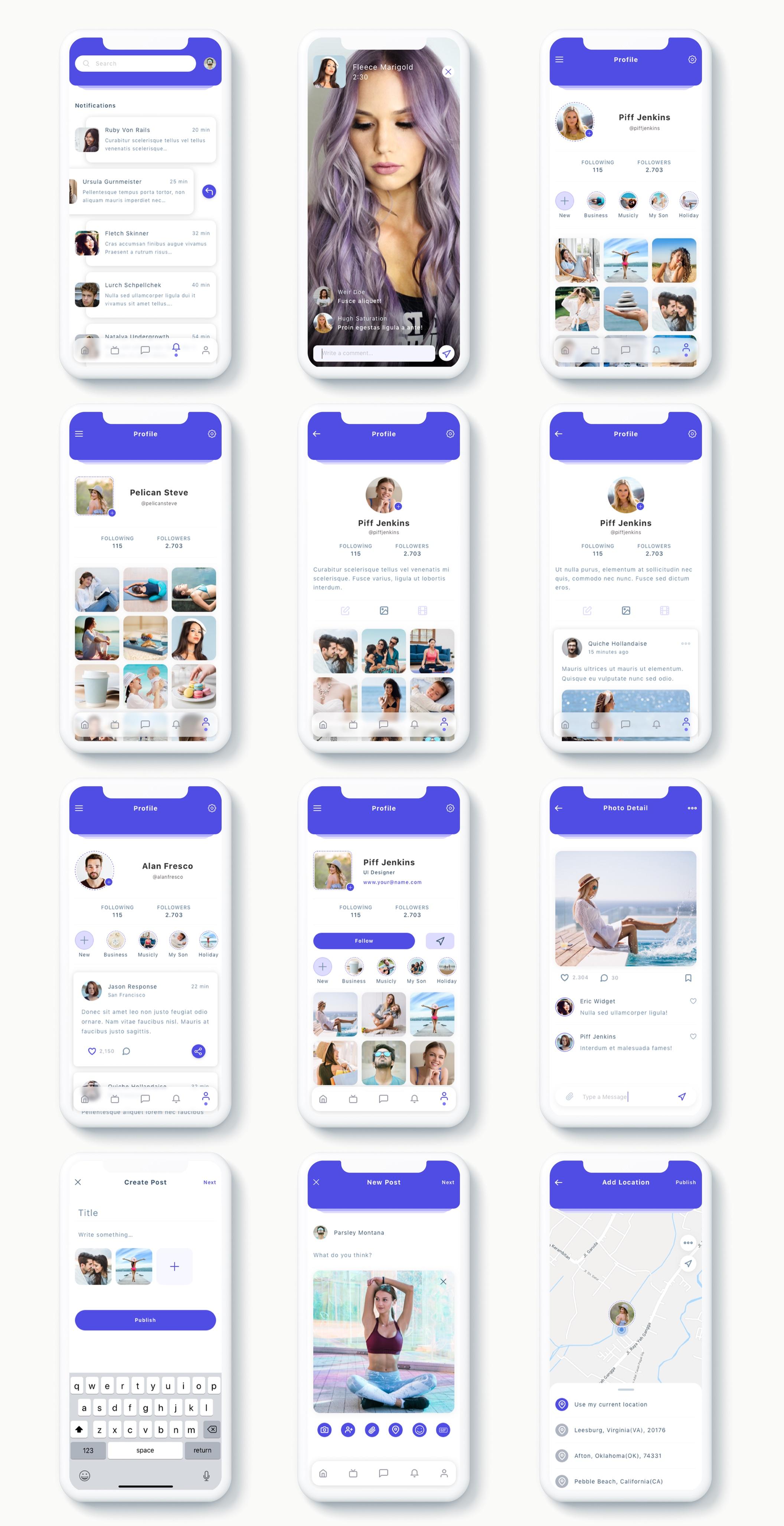 交友社交APP应用界面社交UI套件 Susen – Social Network App UI Kit插图(9)