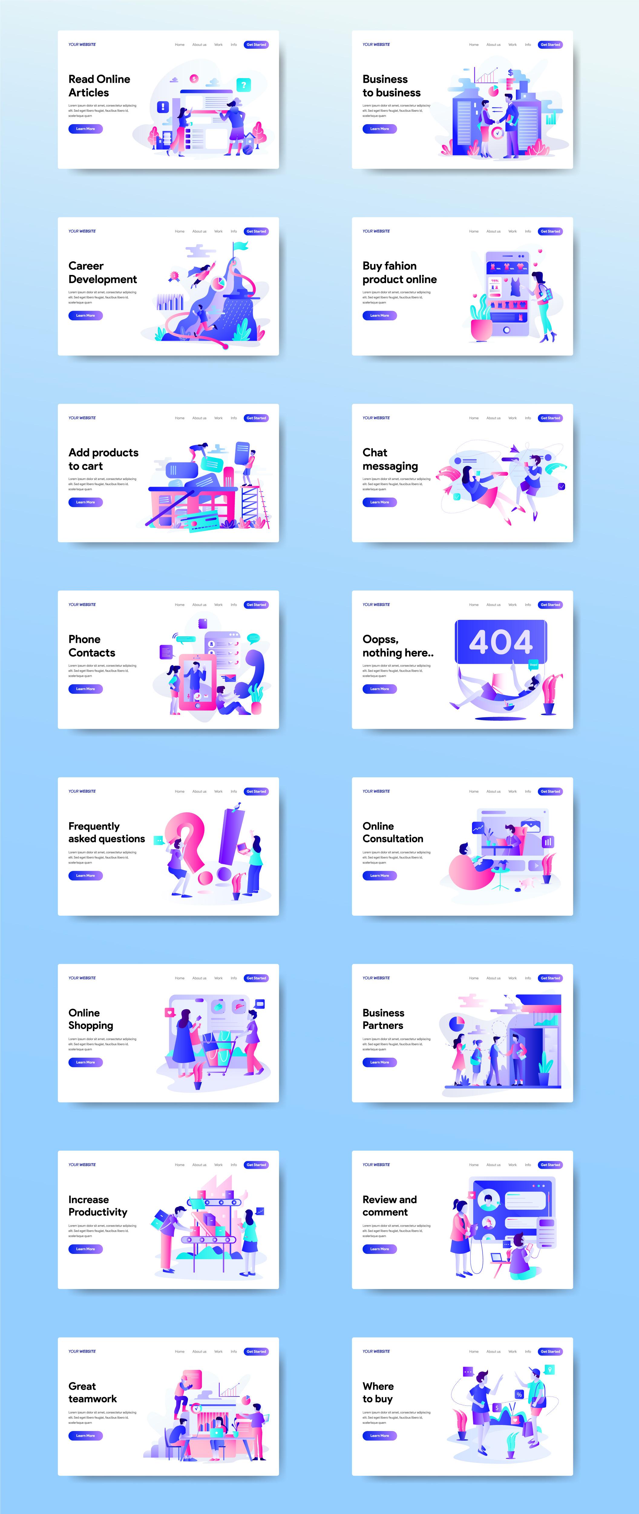16款精美网页设计矢量概念插画素材 16 Web Page Illustrations插图(7)