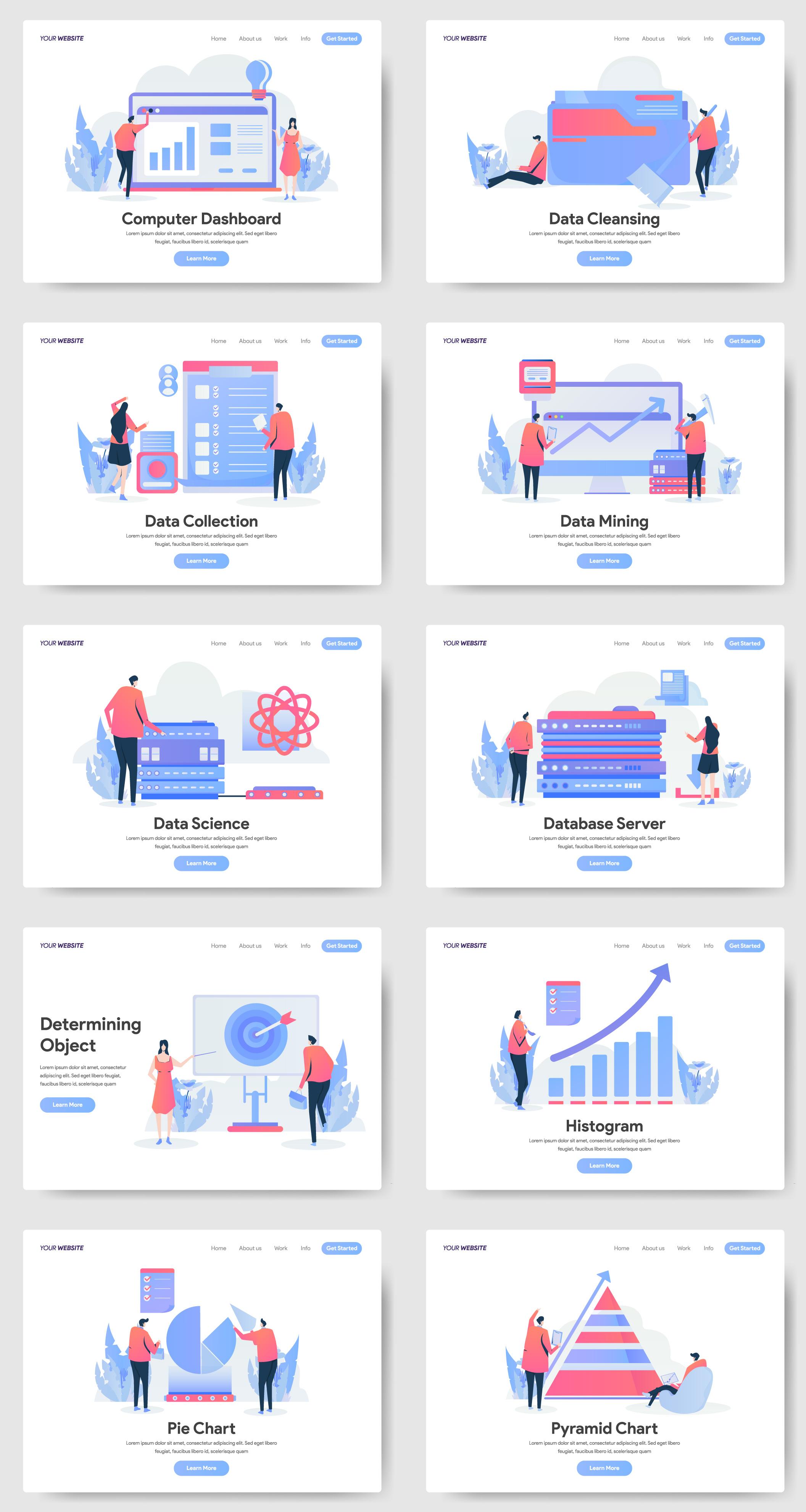 10款数据分析2.5D矢量概念插画素材 Data Analytics Illustration插图(6)