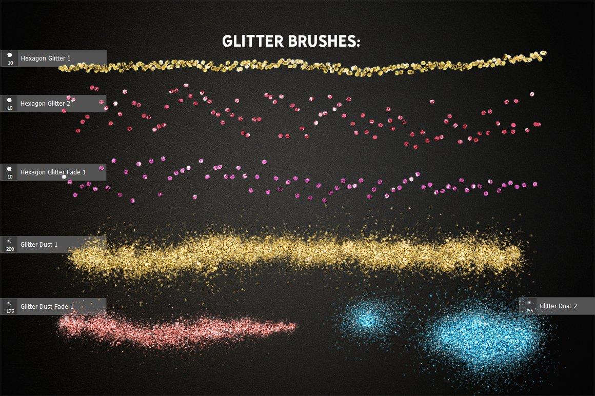 24种多色六边形闪光效果PS样式笔刷动作 GLITTER PRO Styles, Actions, Brushes插图(1)