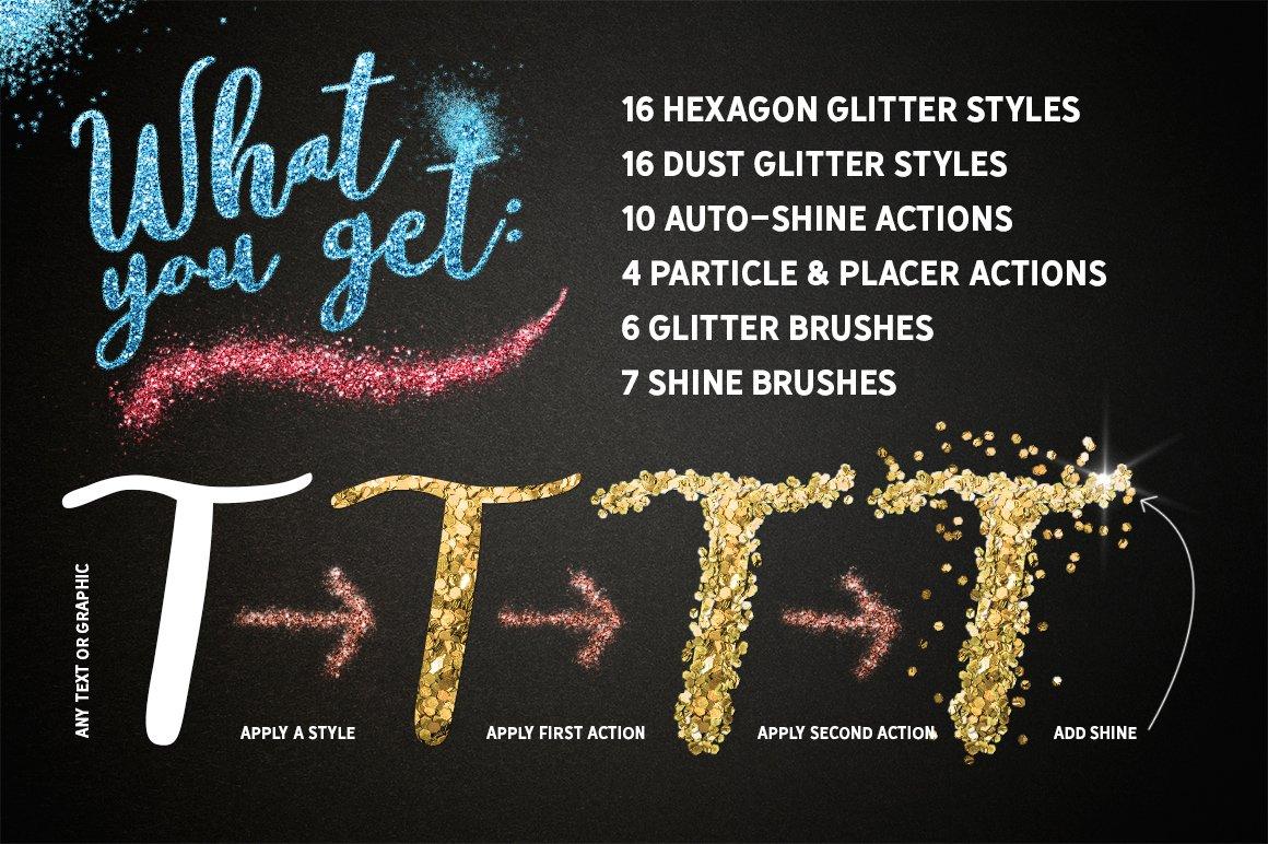 24种多色六边形闪光效果PS样式笔刷动作 GLITTER PRO Styles, Actions, Brushes插图(6)