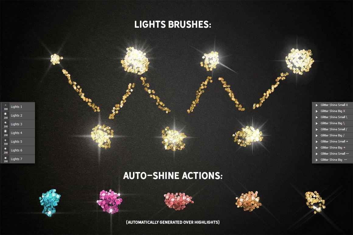 24种多色六边形闪光效果PS样式笔刷动作 GLITTER PRO Styles, Actions, Brushes插图(7)