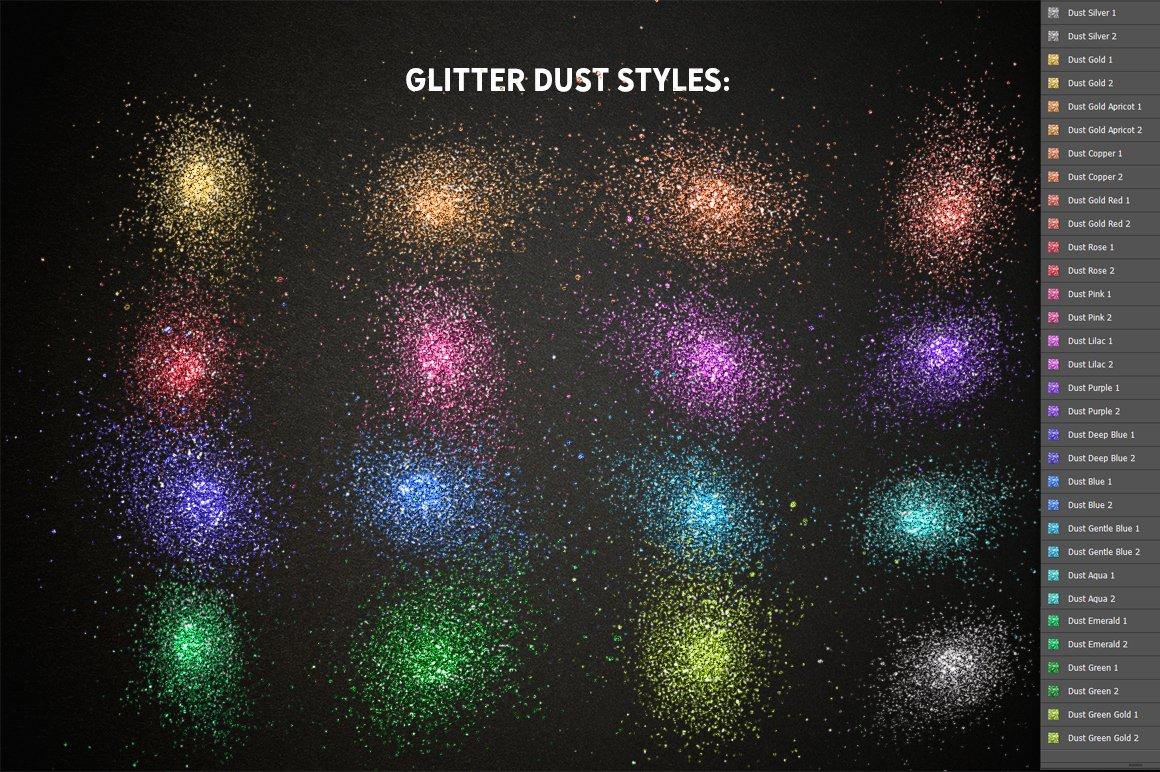 24种多色六边形闪光效果PS样式笔刷动作 GLITTER PRO Styles, Actions, Brushes插图(8)