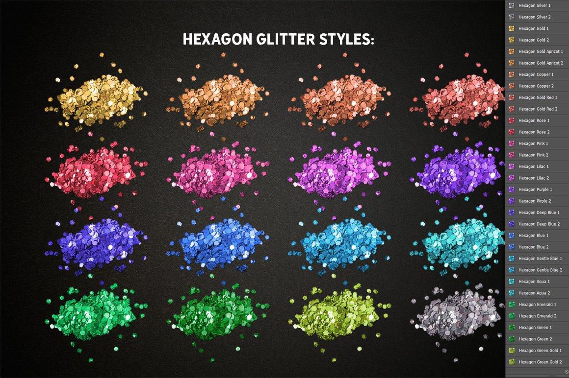 24种多色六边形闪光效果PS样式笔刷动作 GLITTER PRO Styles, Actions, Brushes插图(9)