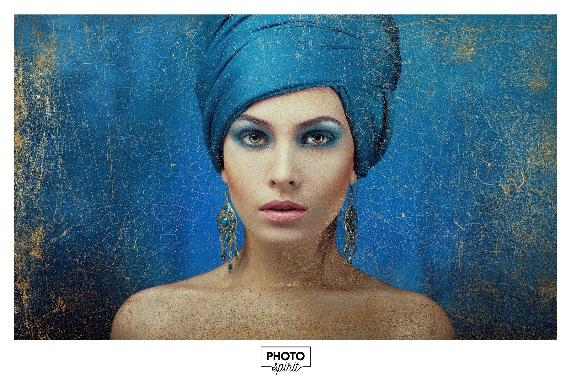 金色光泽铜绿划痕飞溅照片叠加层效果PS素材 Golden Patina Photo Effect插图(2)