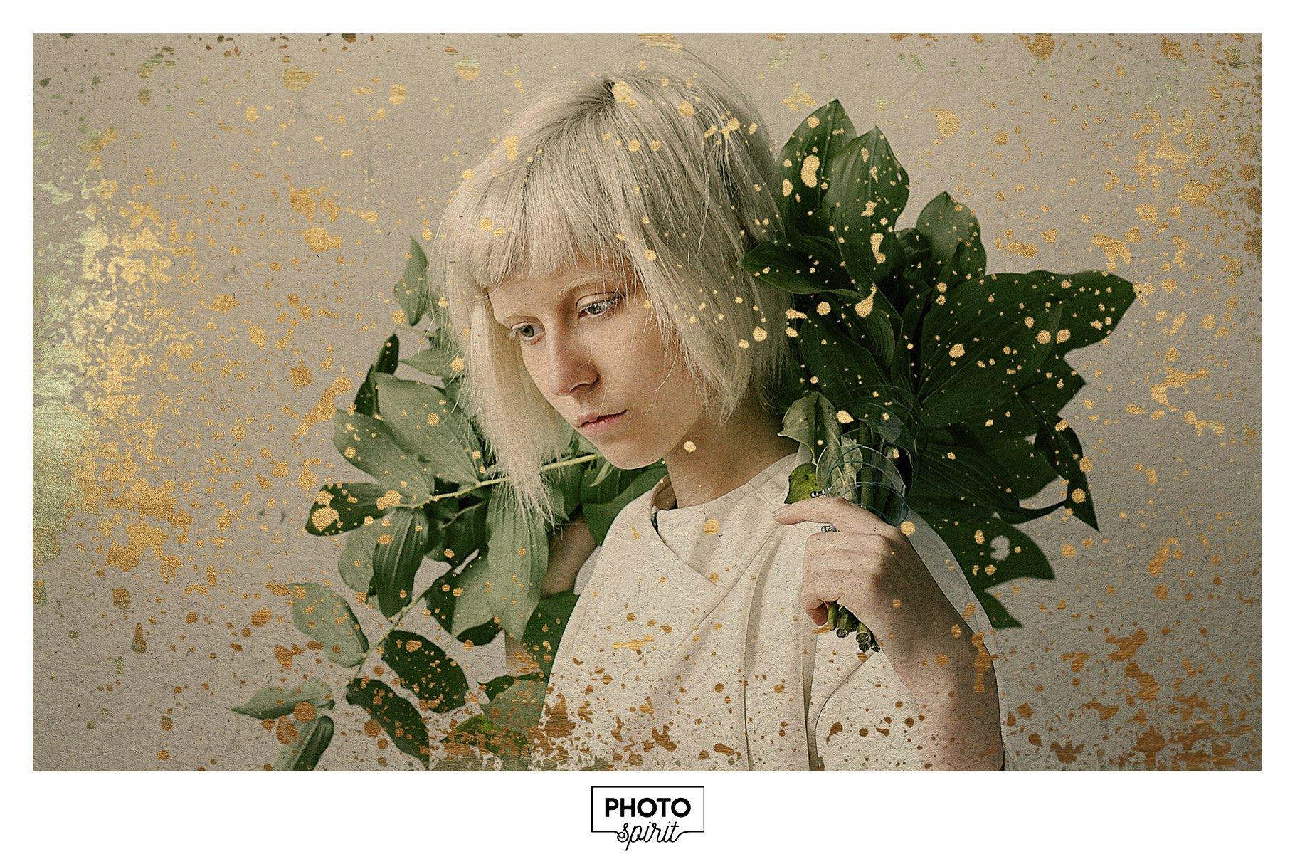 金色光泽铜绿划痕飞溅照片叠加层效果PS素材 Golden Patina Photo Effect插图(3)