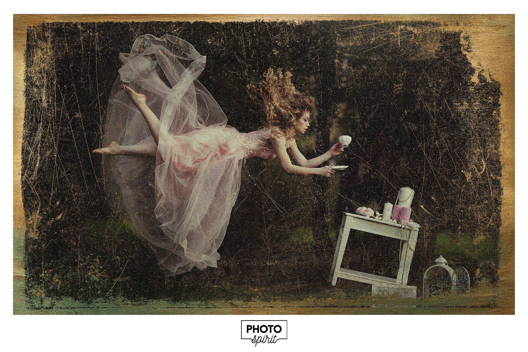 金色光泽铜绿划痕飞溅照片叠加层效果PS素材 Golden Patina Photo Effect插图(4)
