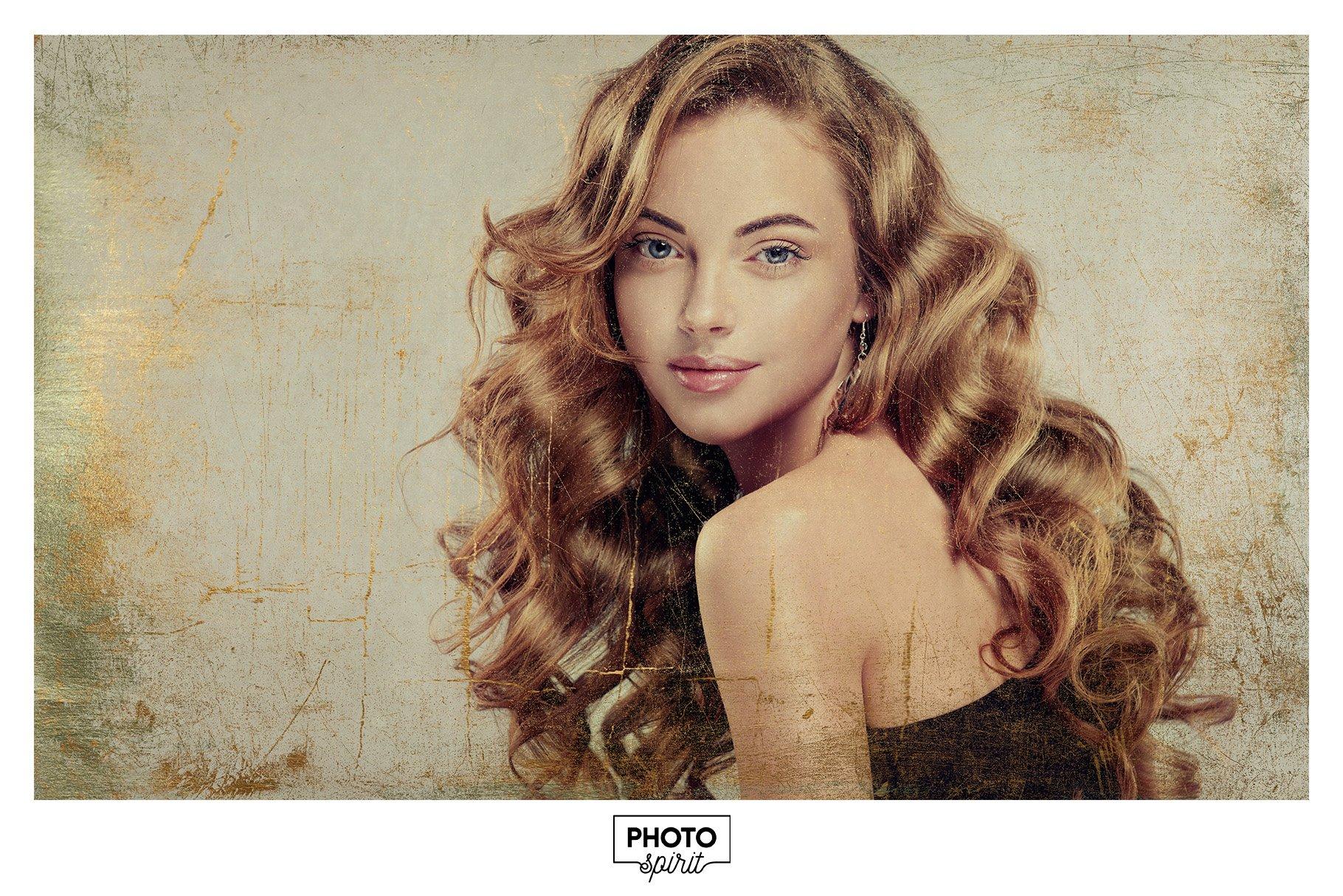 金色光泽铜绿划痕飞溅照片叠加层效果PS素材 Golden Patina Photo Effect插图(6)