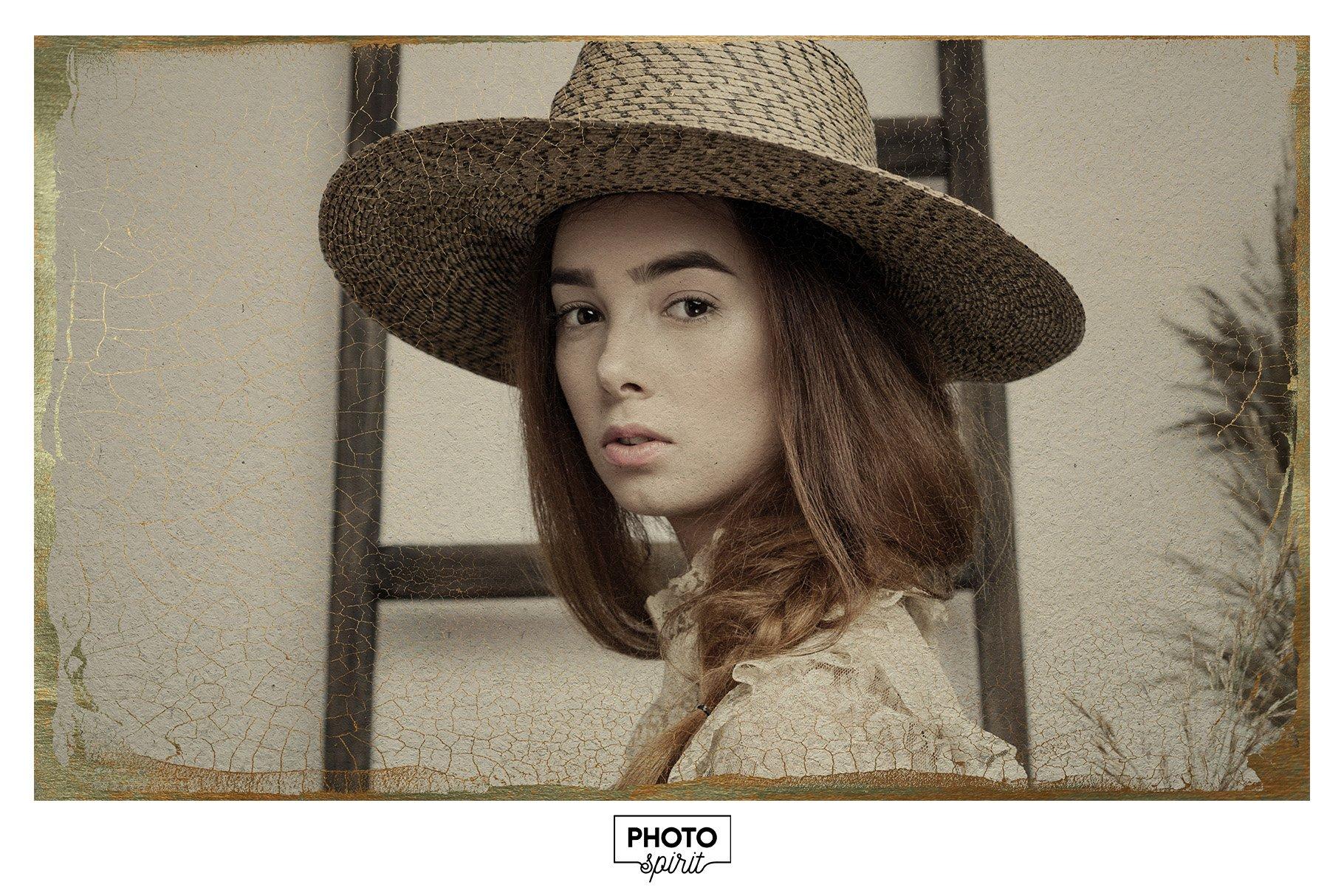 金色光泽铜绿划痕飞溅照片叠加层效果PS素材 Golden Patina Photo Effect插图(7)