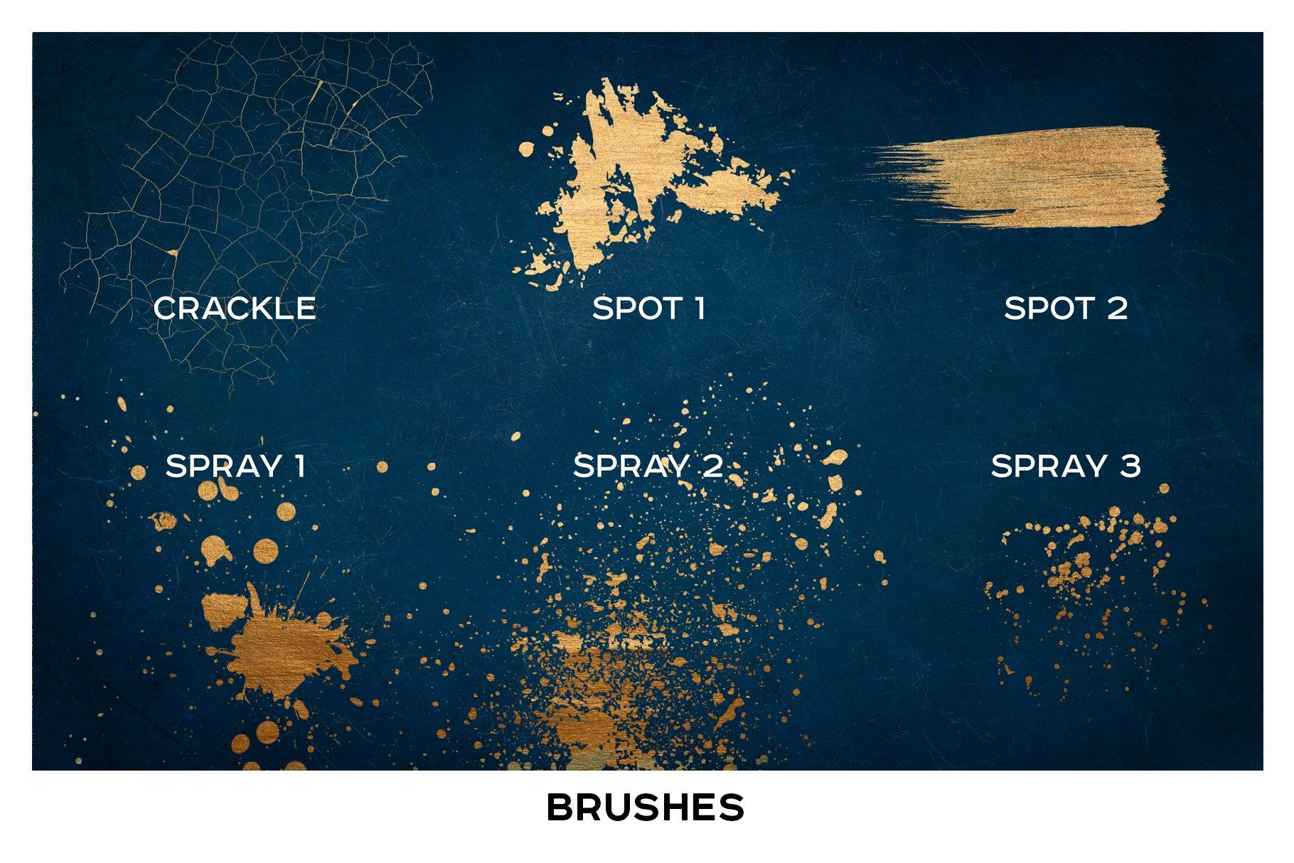 金色光泽铜绿划痕飞溅照片叠加层效果PS素材 Golden Patina Photo Effect插图(8)