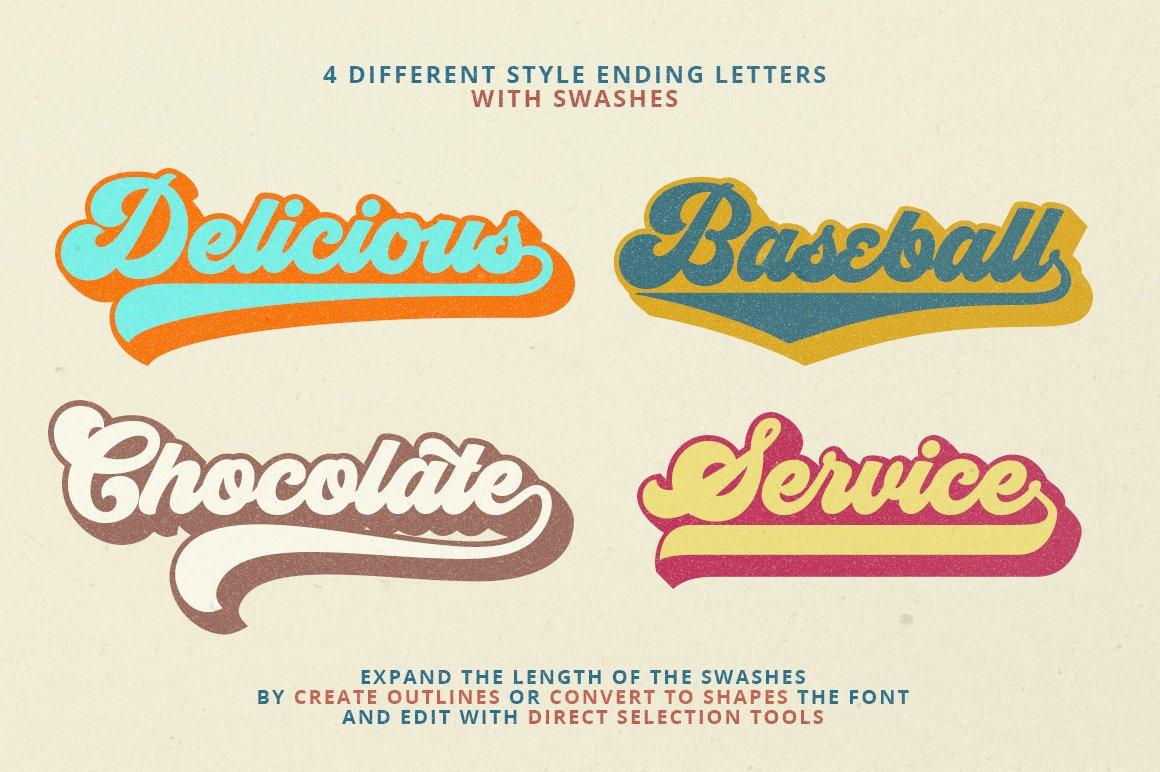 六七十年代复古凹凸挤压英文字体下载 Groovy Font Script插图5