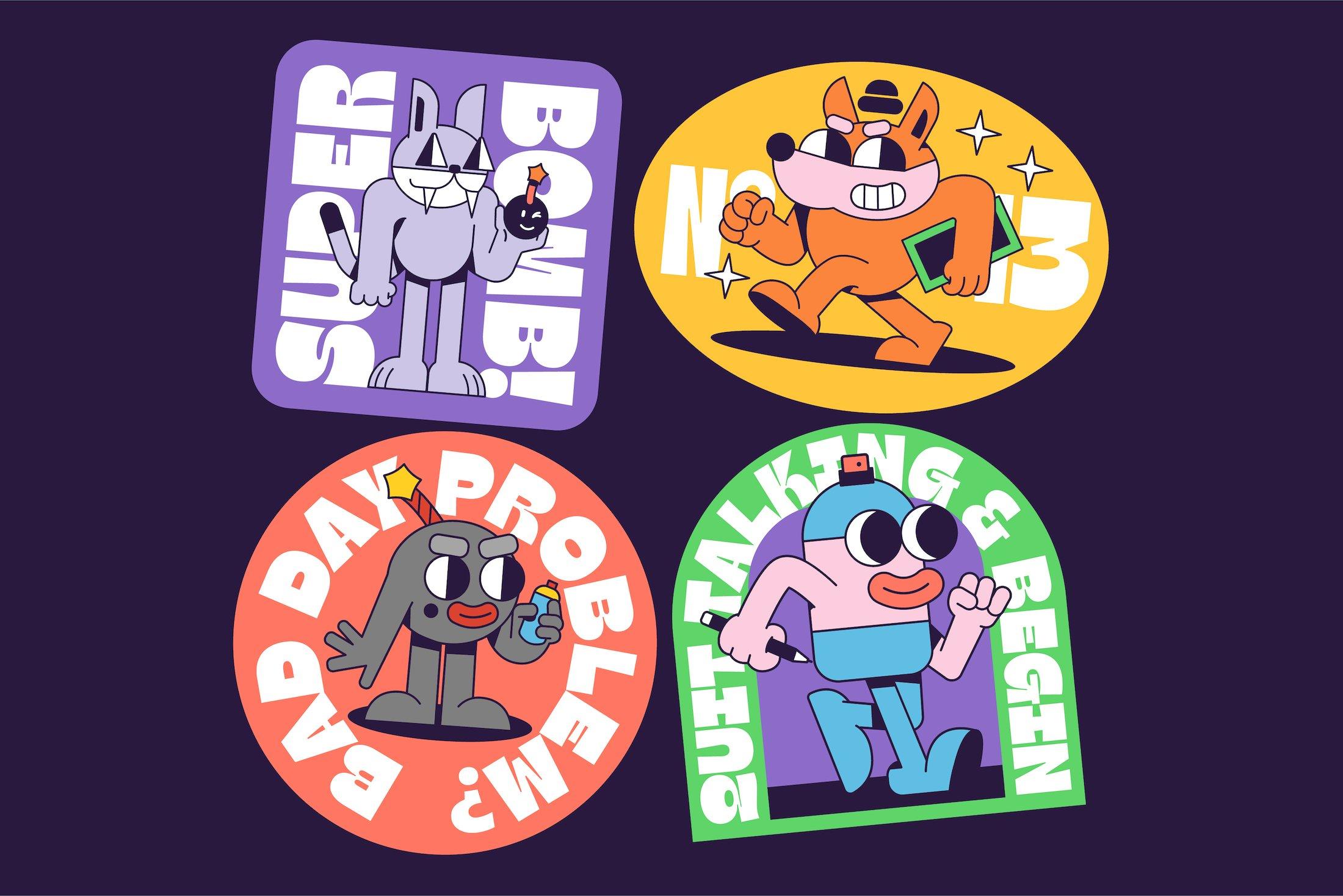 90年代有趣复古卡通漫画书贴纸设计英文字体下载 Gulfs Display Font Family插图(10)