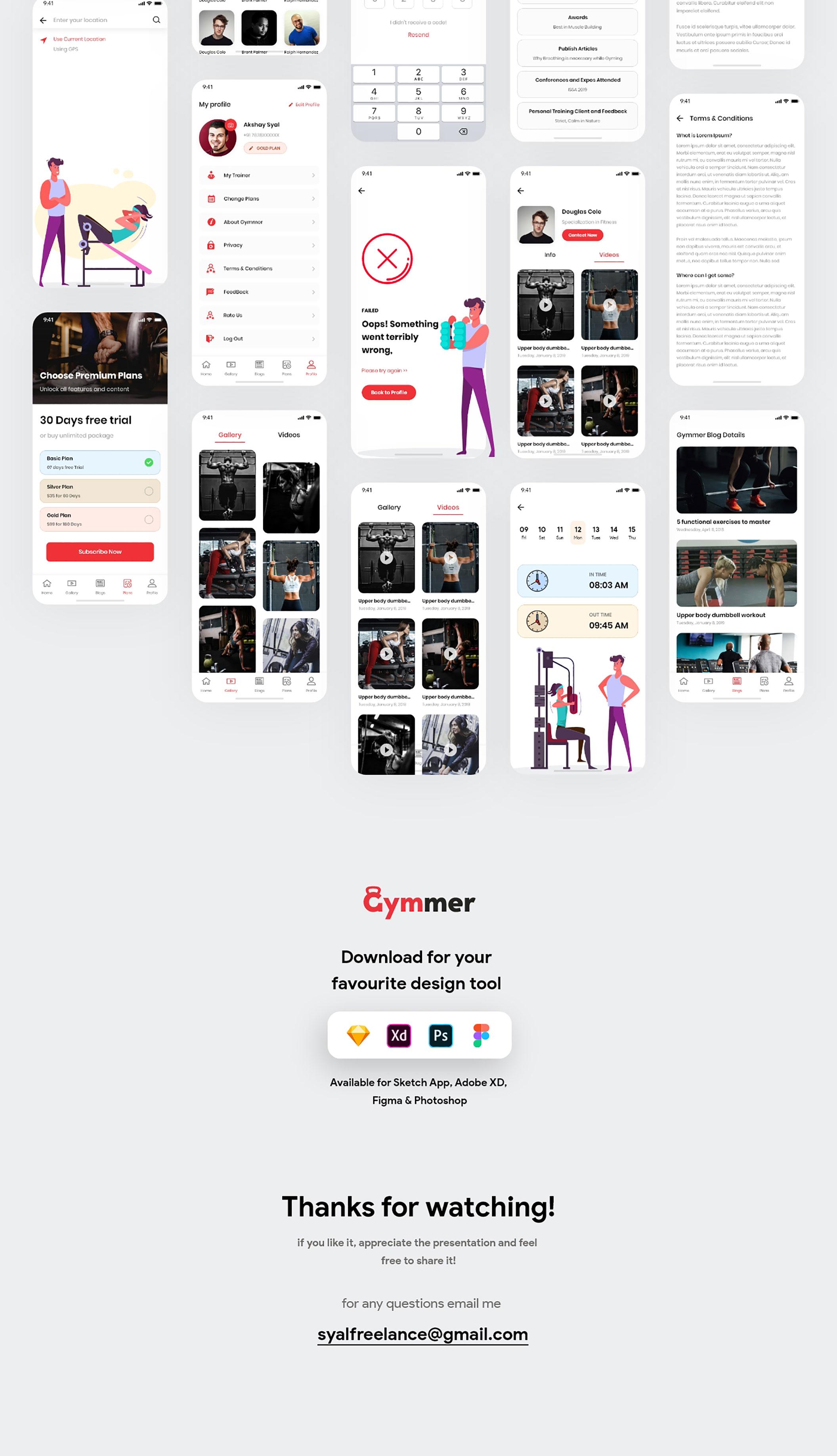体育锻炼健身应用程序APP UI套件 Gymmer UI Kit插图(6)