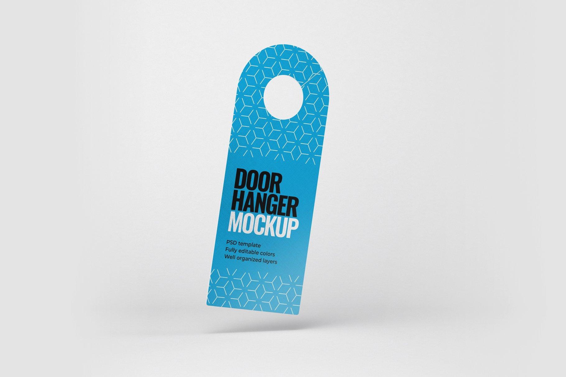 酒店门把手吊牌设计展示样机模板 Door Hanger Mockup Set插图(1)