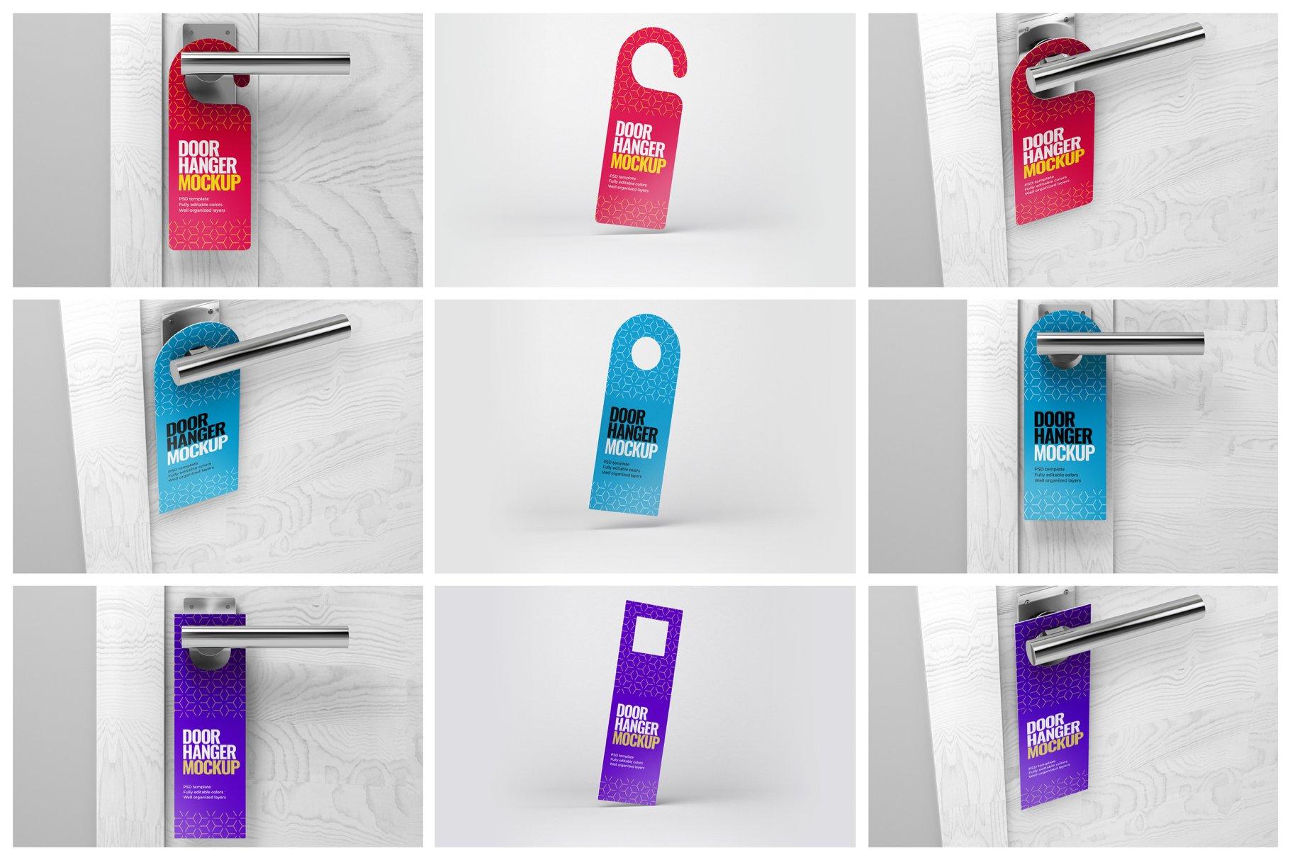 酒店门把手吊牌设计展示样机模板 Door Hanger Mockup Set插图(10)