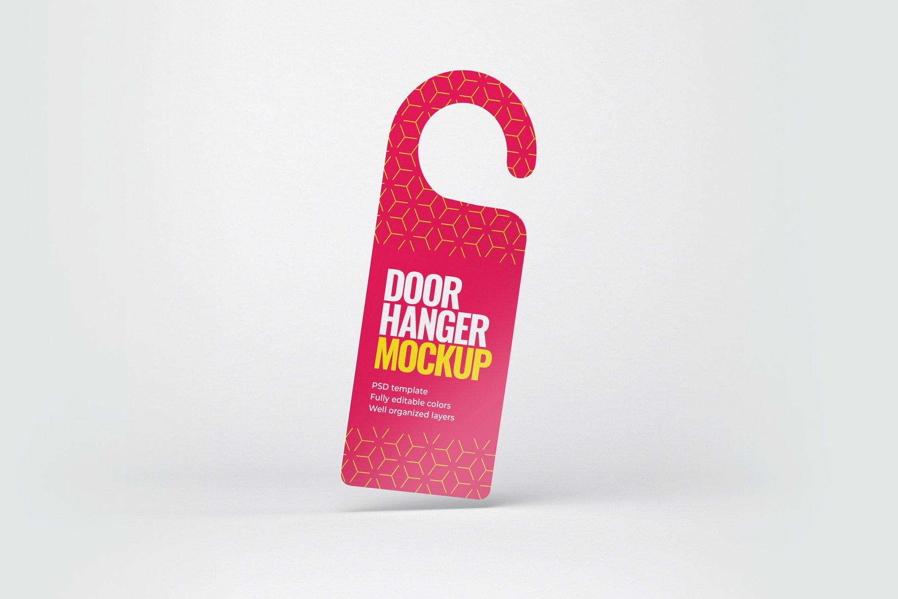 酒店门把手吊牌设计展示样机模板 Door Hanger Mockup Set插图(2)