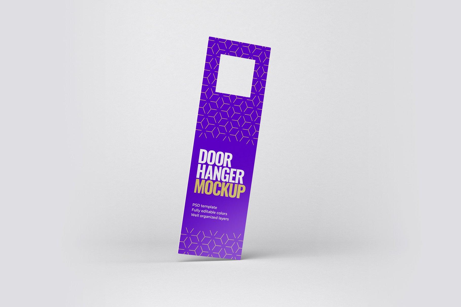 酒店门把手吊牌设计展示样机模板 Door Hanger Mockup Set插图(3)