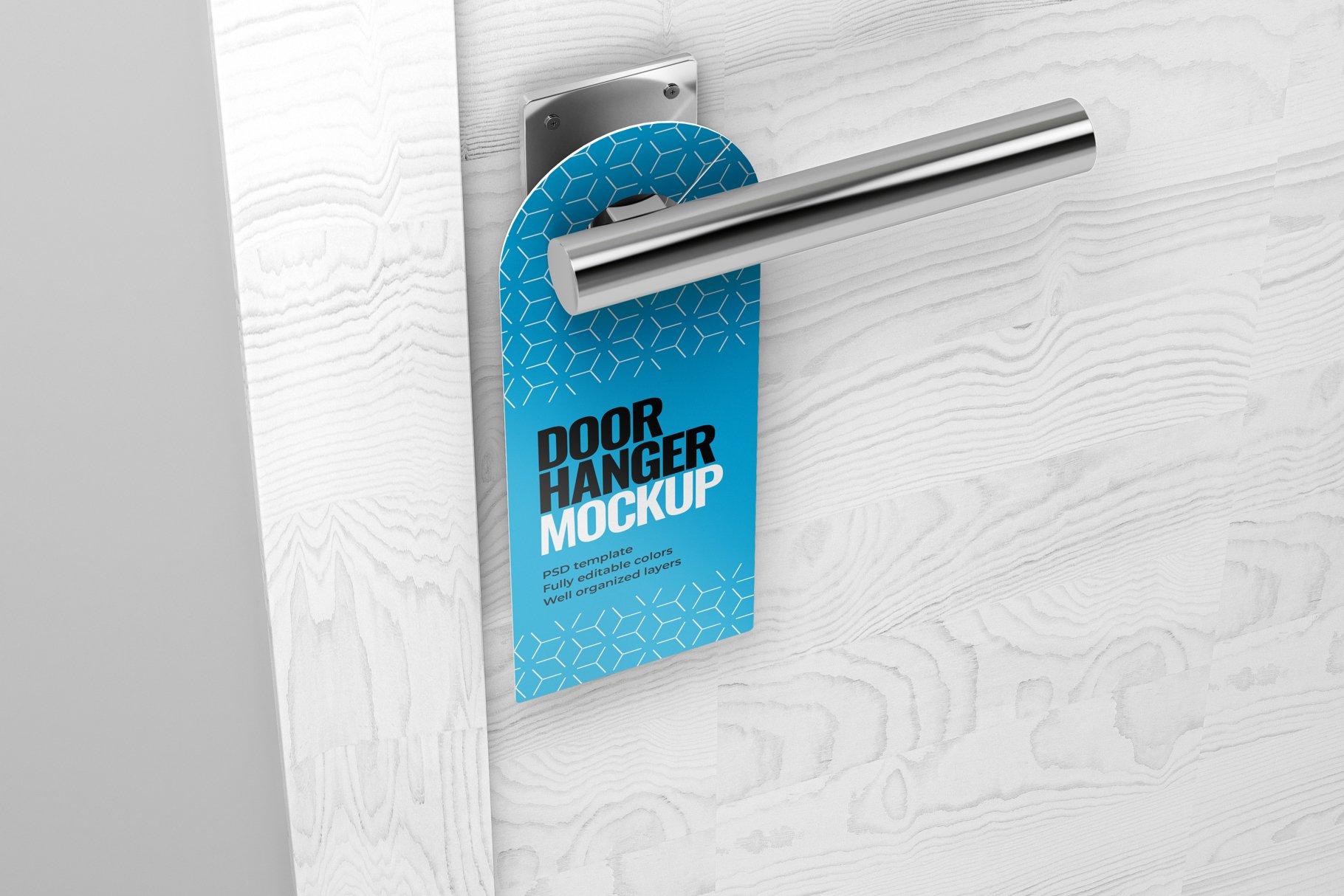 酒店门把手吊牌设计展示样机模板 Door Hanger Mockup Set插图(4)