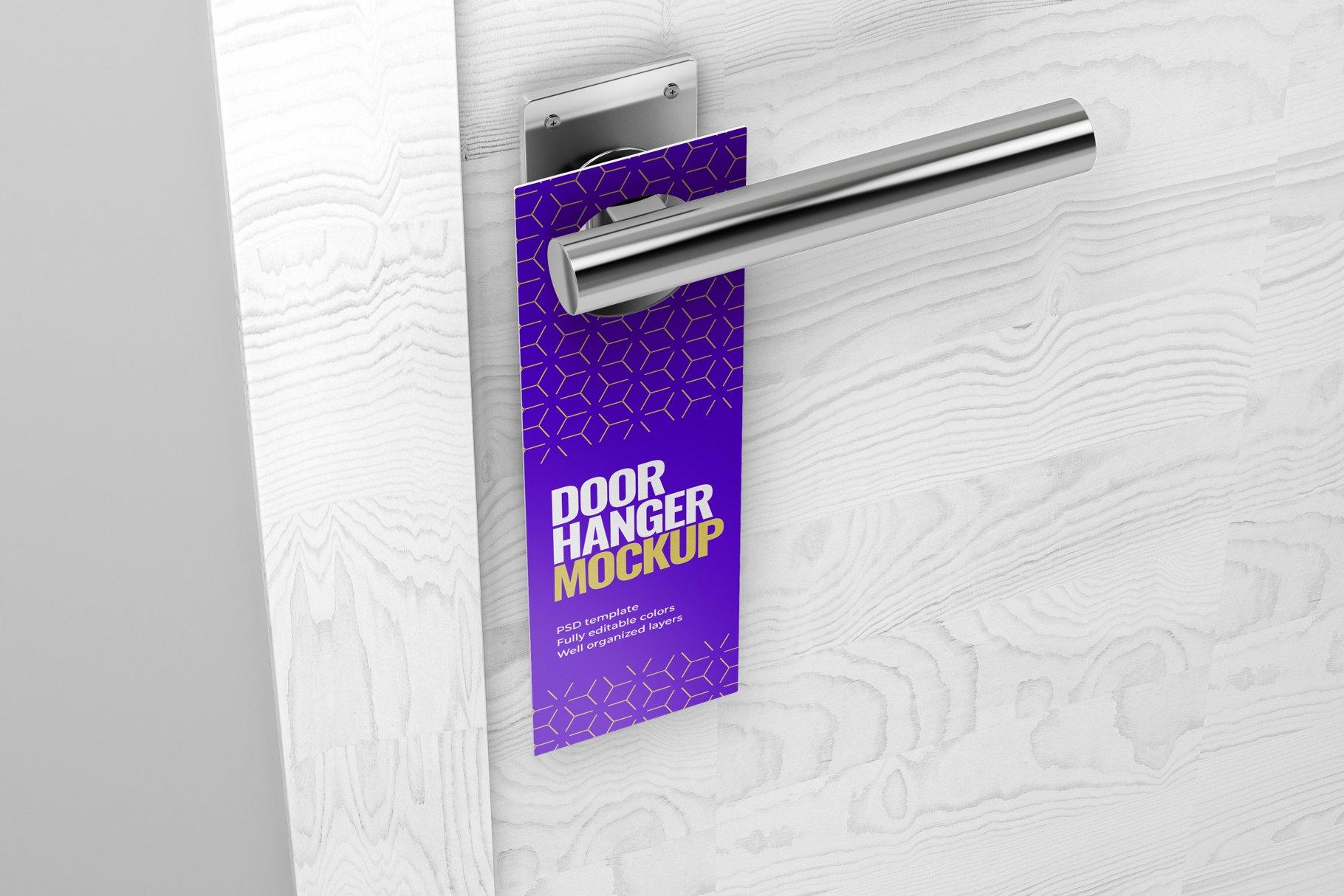 酒店门把手吊牌设计展示样机模板 Door Hanger Mockup Set插图(5)