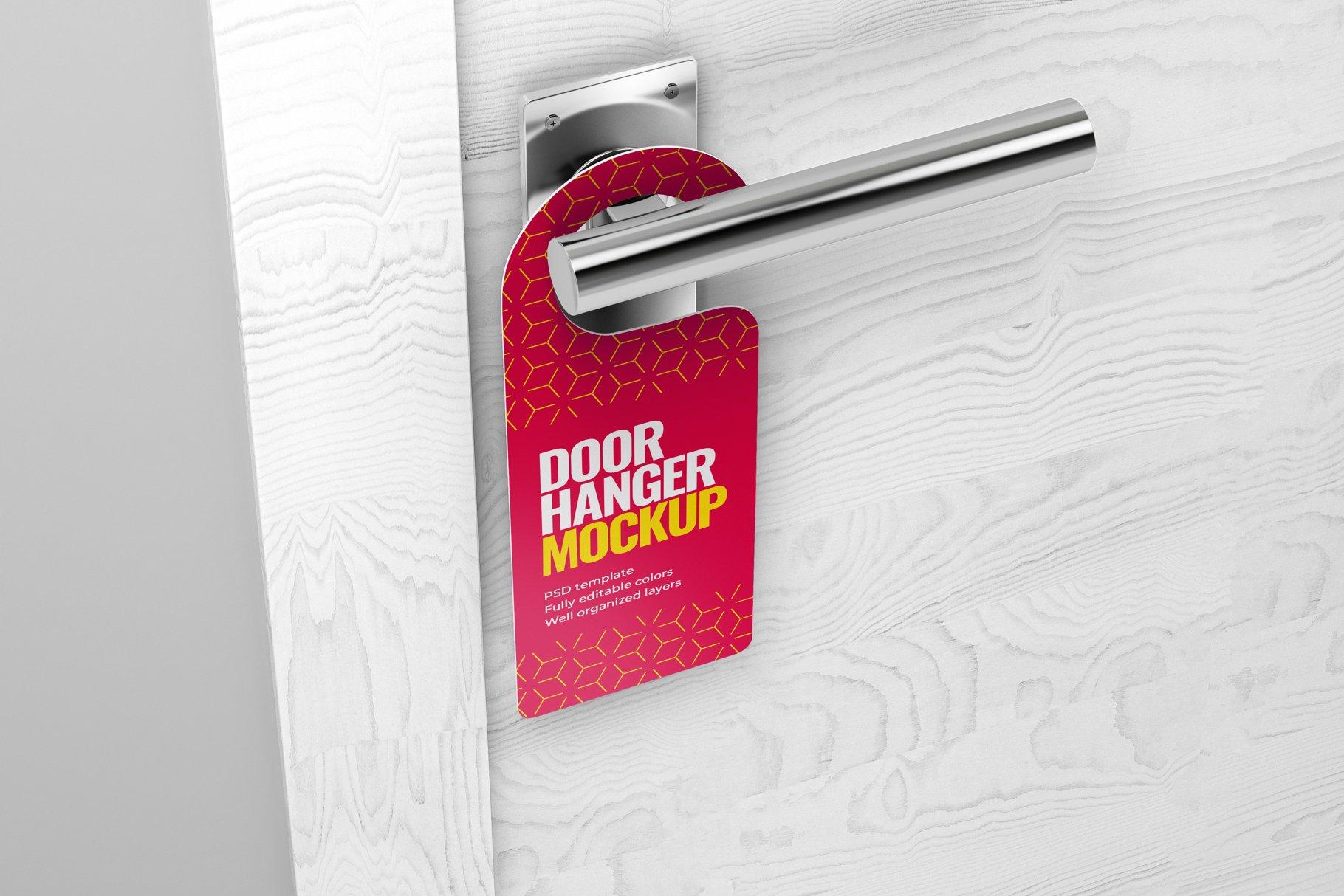 酒店门把手吊牌设计展示样机模板 Door Hanger Mockup Set插图(6)