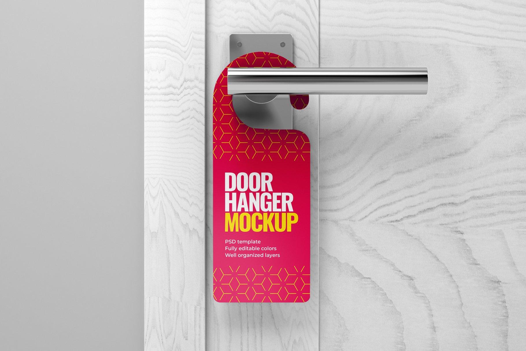 酒店门把手吊牌设计展示样机模板 Door Hanger Mockup Set插图(9)