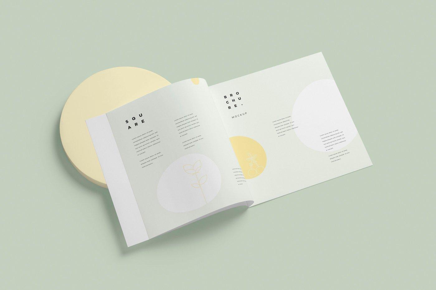 软封面方形小册子设计展示样机 Soft Cover Square Brochure Mockups插图(1)