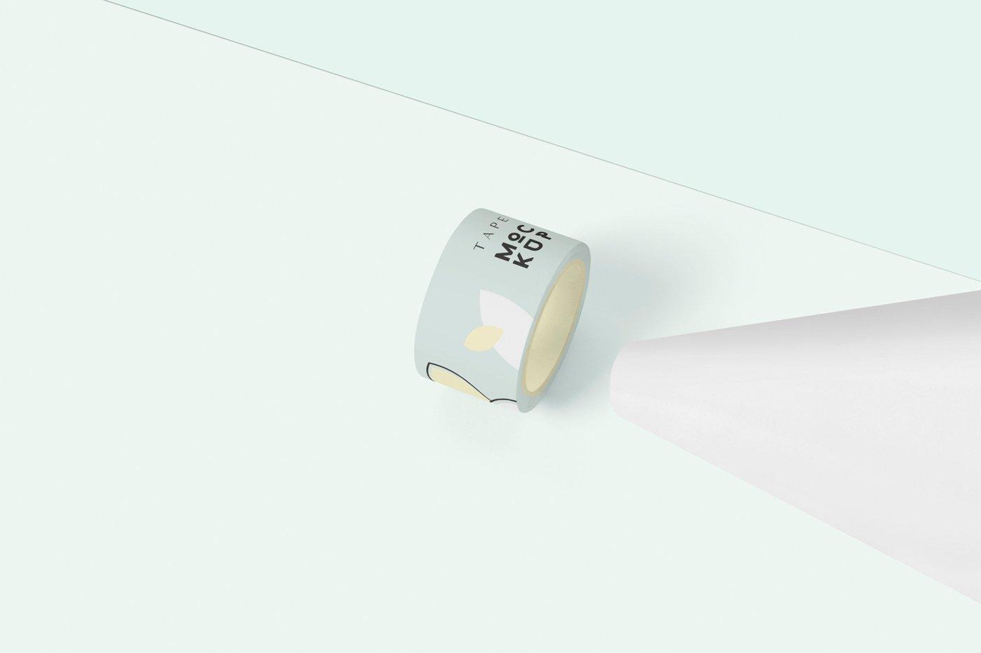 管状胶带设计展示样机模板 Small Packaging Tape Mockups插图(1)