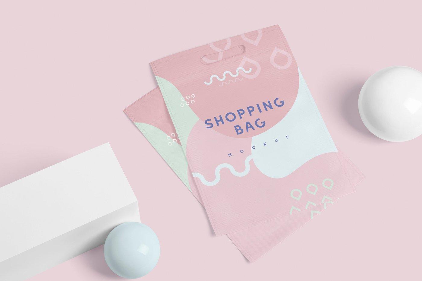 矩形帆布购物袋设计展示样机 Rectangle Canvas Shopping Bag Mockups插图(1)