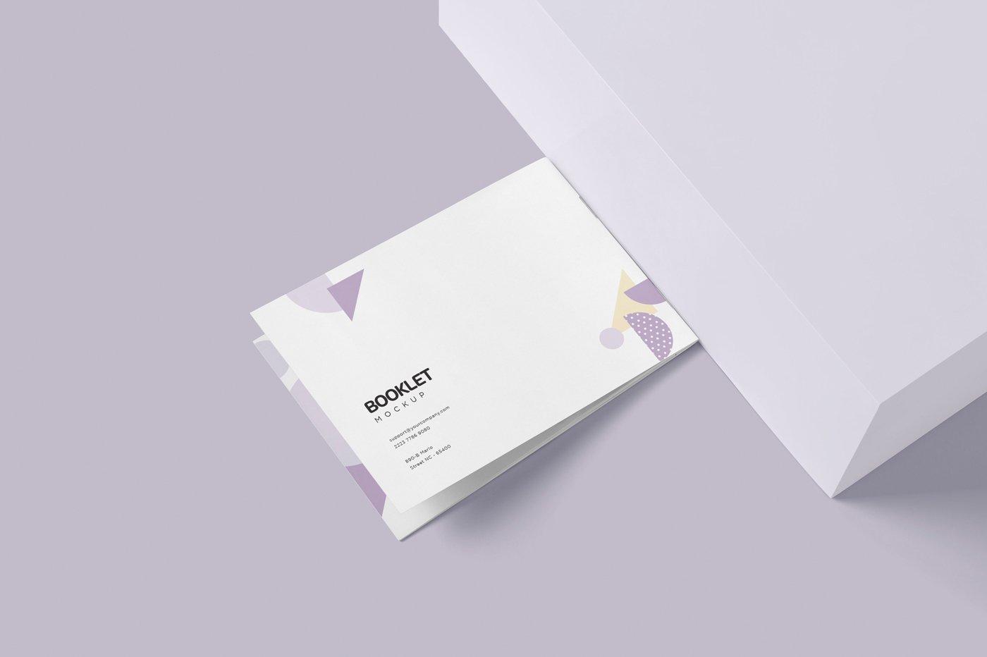 横版宣传手册画册设计展示样机模板 Landscape Booklet Mockup Templates插图(1)