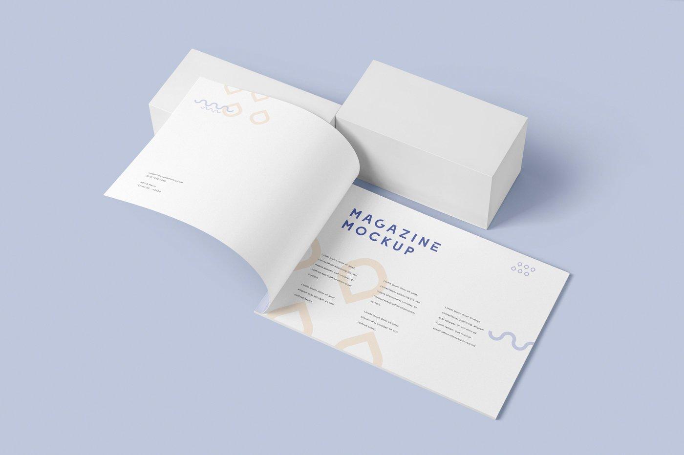 A4横版宣传画册设计展示样机 A4 Horizontal Brochure Mockups插图(1)