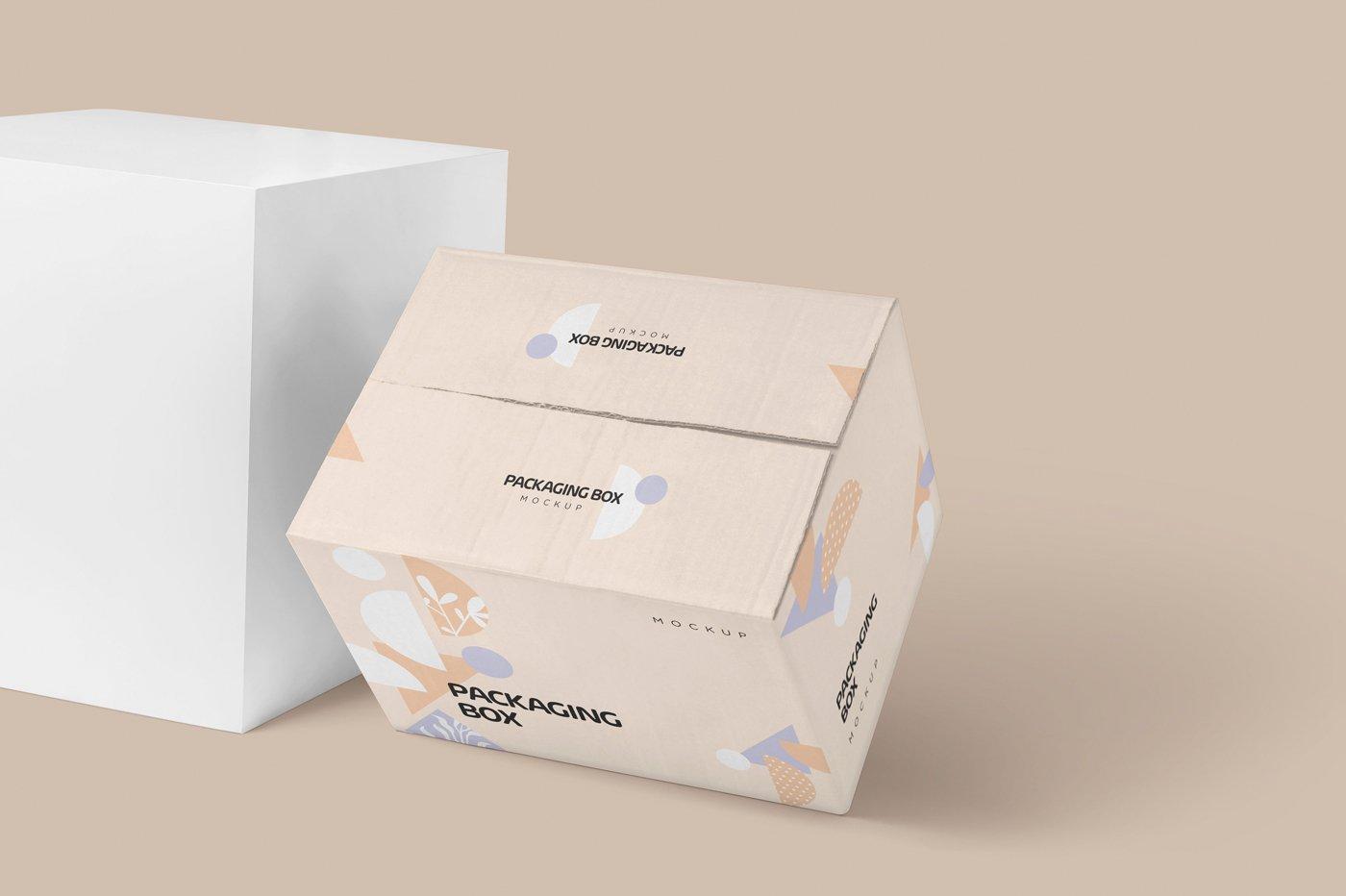 矩形瓦楞硬纸板快递包装箱设计展示样机 Rectangular Cardboard Box Mockups插图(1)